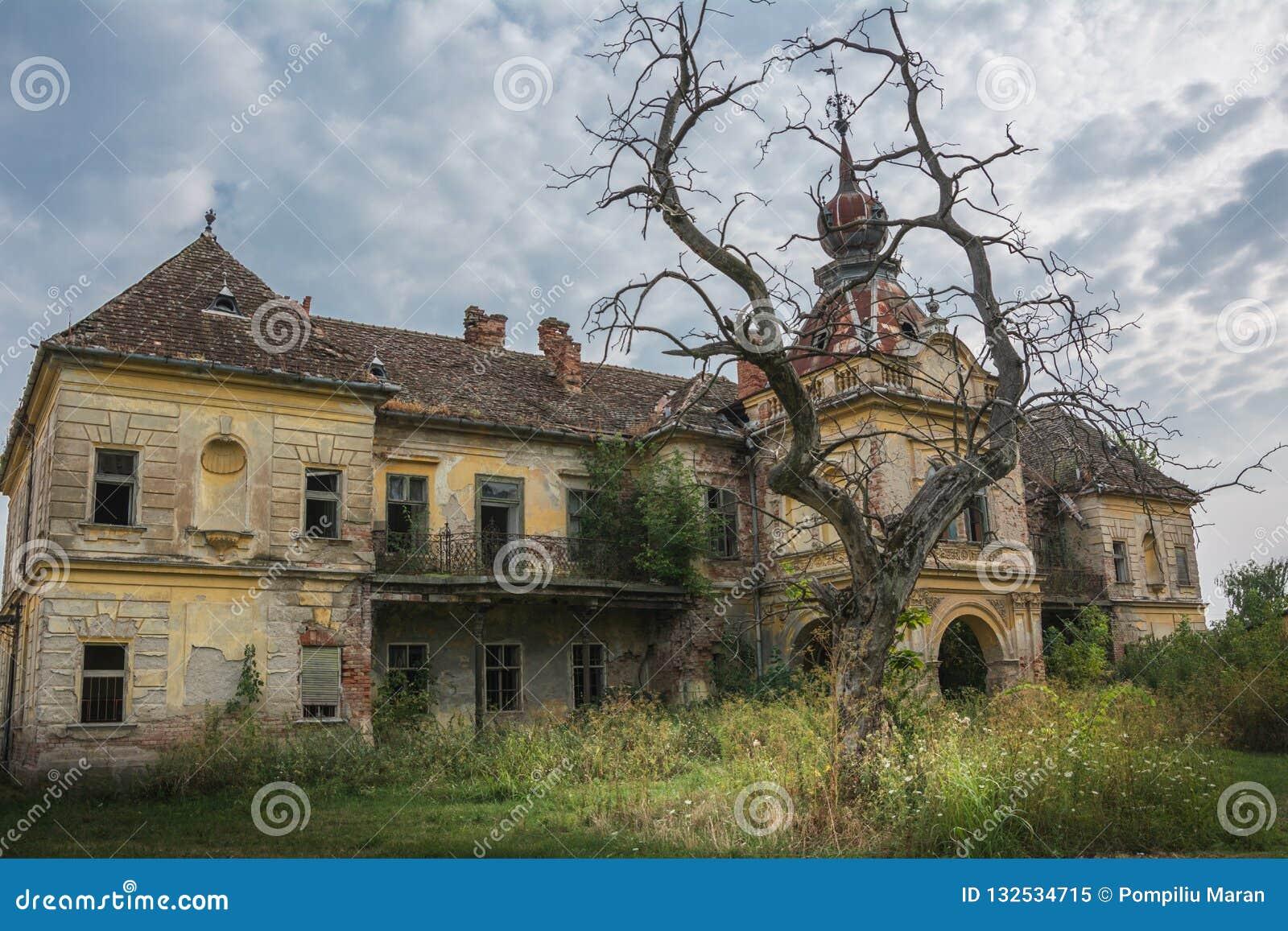 Ein altes verlassenes furchtsames Schloss in der gotischen Art