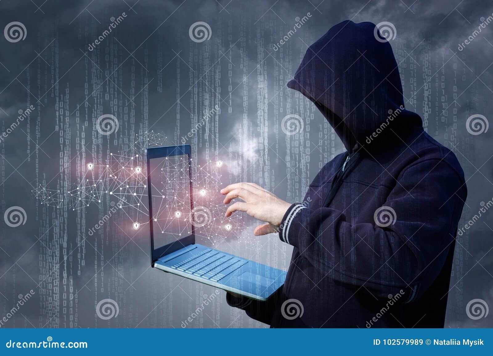 Ein Angreifer auf dem Laptopangriff ein Netz