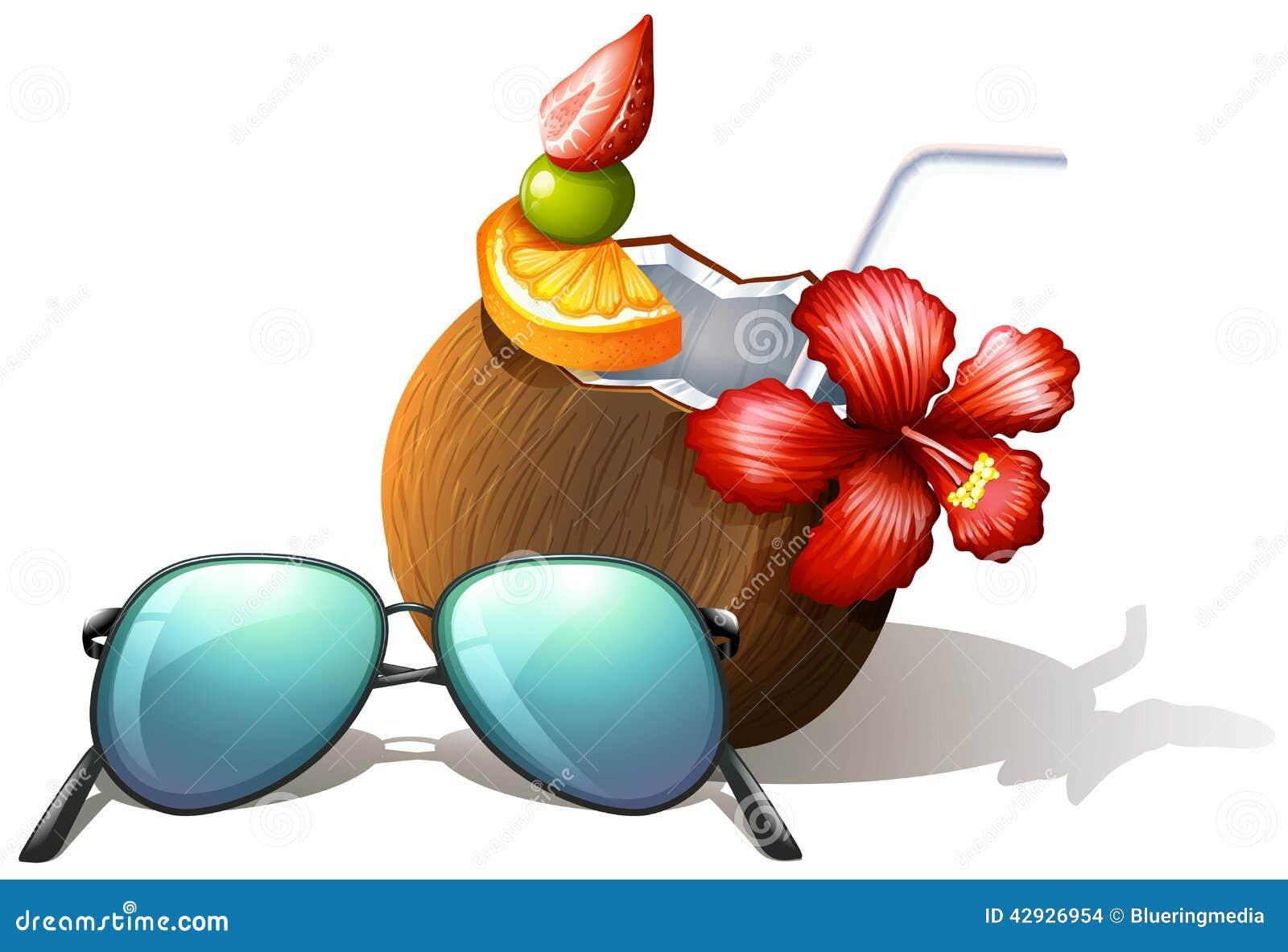 Ein Auffrischungsgetränk Und Sonnenbrille Für Einen Strandausflug ...
