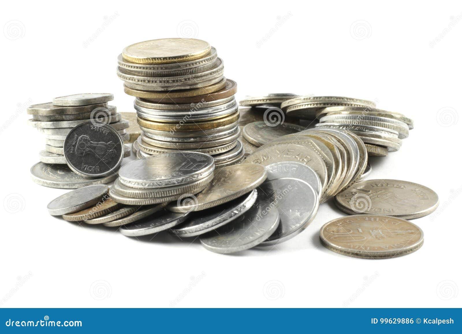 Ein Bündel Indische Währungs Münzen Stockfoto Bild Von Bündel