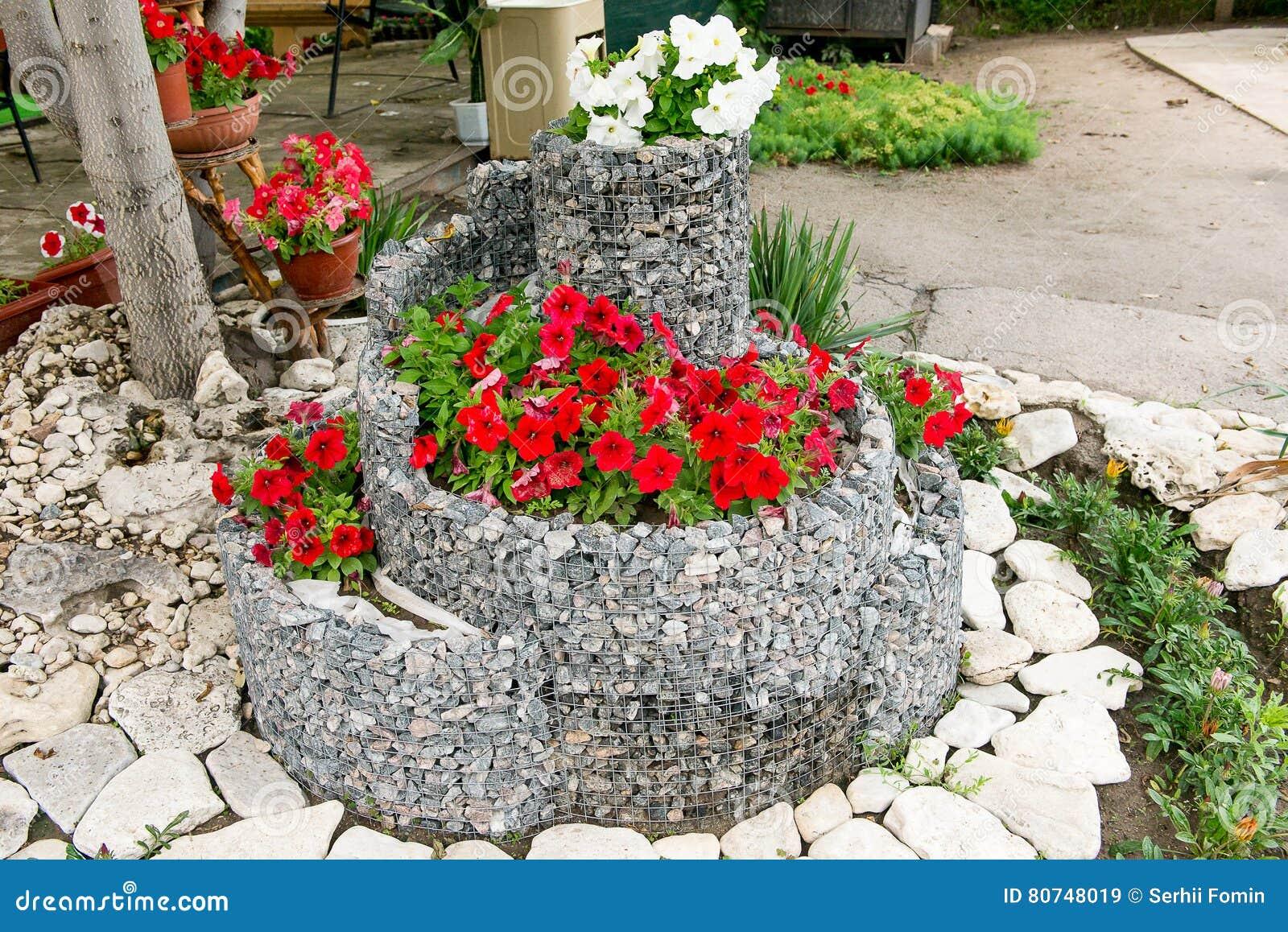 Prächtig Ein Blumenbeet Von Blühenden Petunien Für Die Steine Designlösung @JI_14