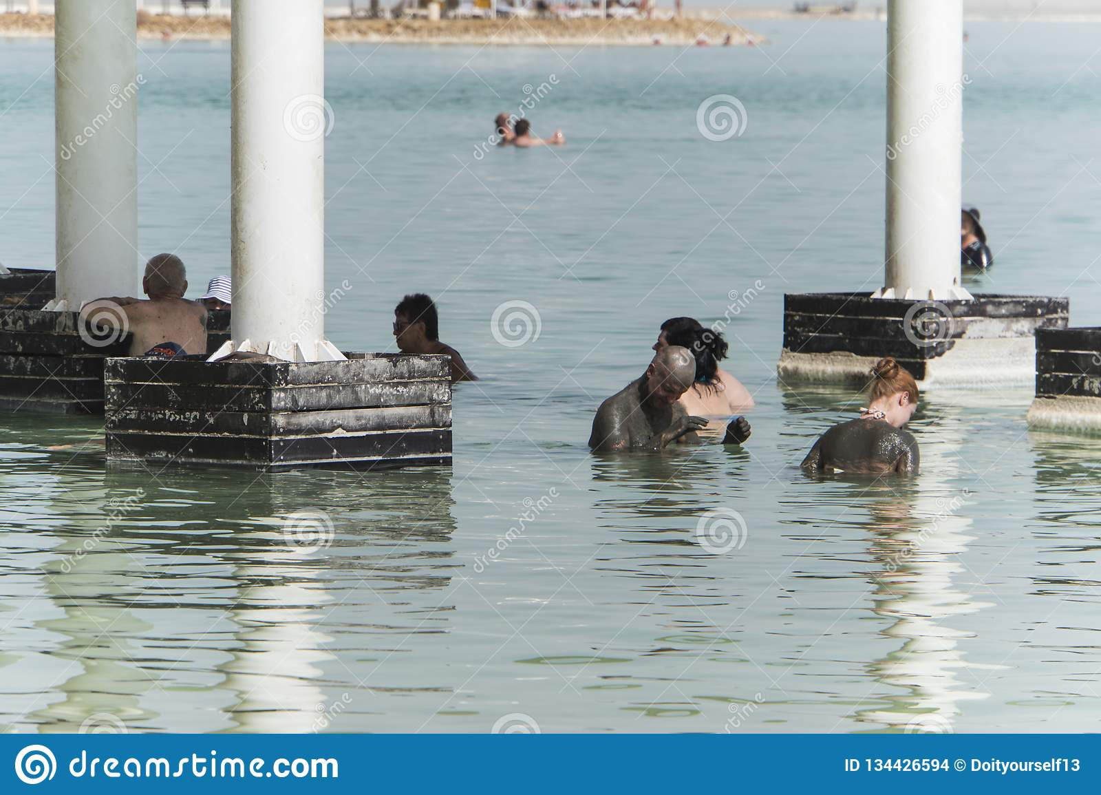EIN BOKEK, ISRAEL 22 October 2018: People floating in Dead Sea circa