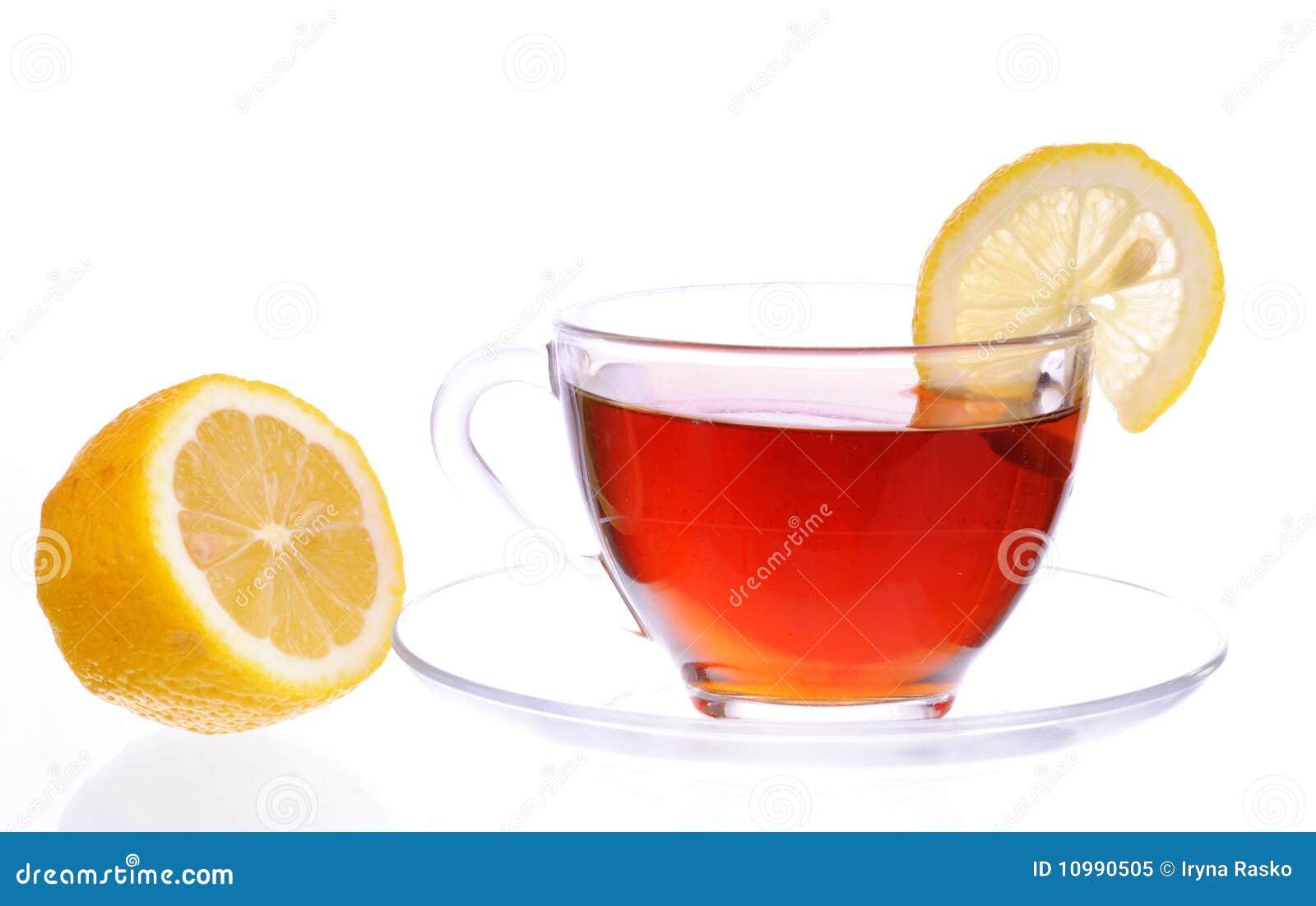 Ein Cup Schwarzer Tee Mit Zitrone Stockbild Bild Von Gesund Glas