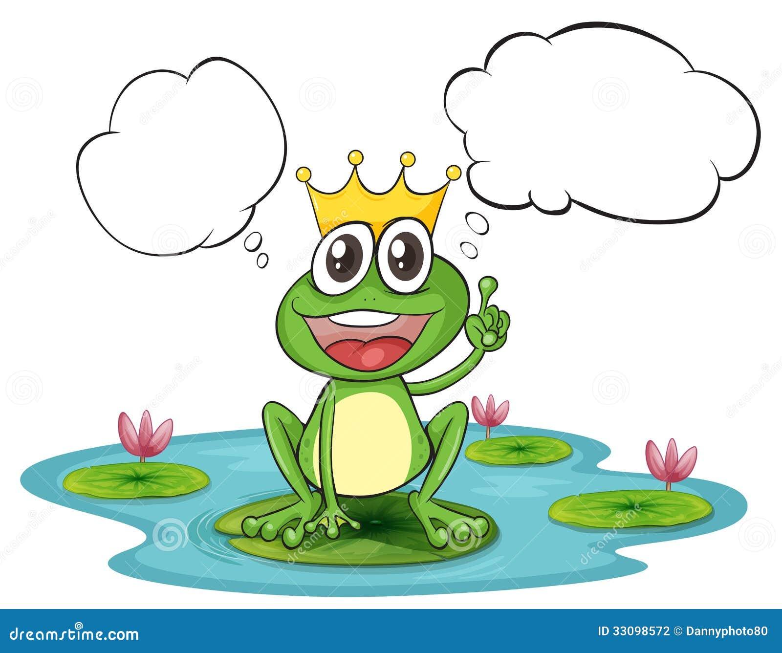 ein denkender frosch mit einer krone vektor abbildung bild 33098572. Black Bedroom Furniture Sets. Home Design Ideas