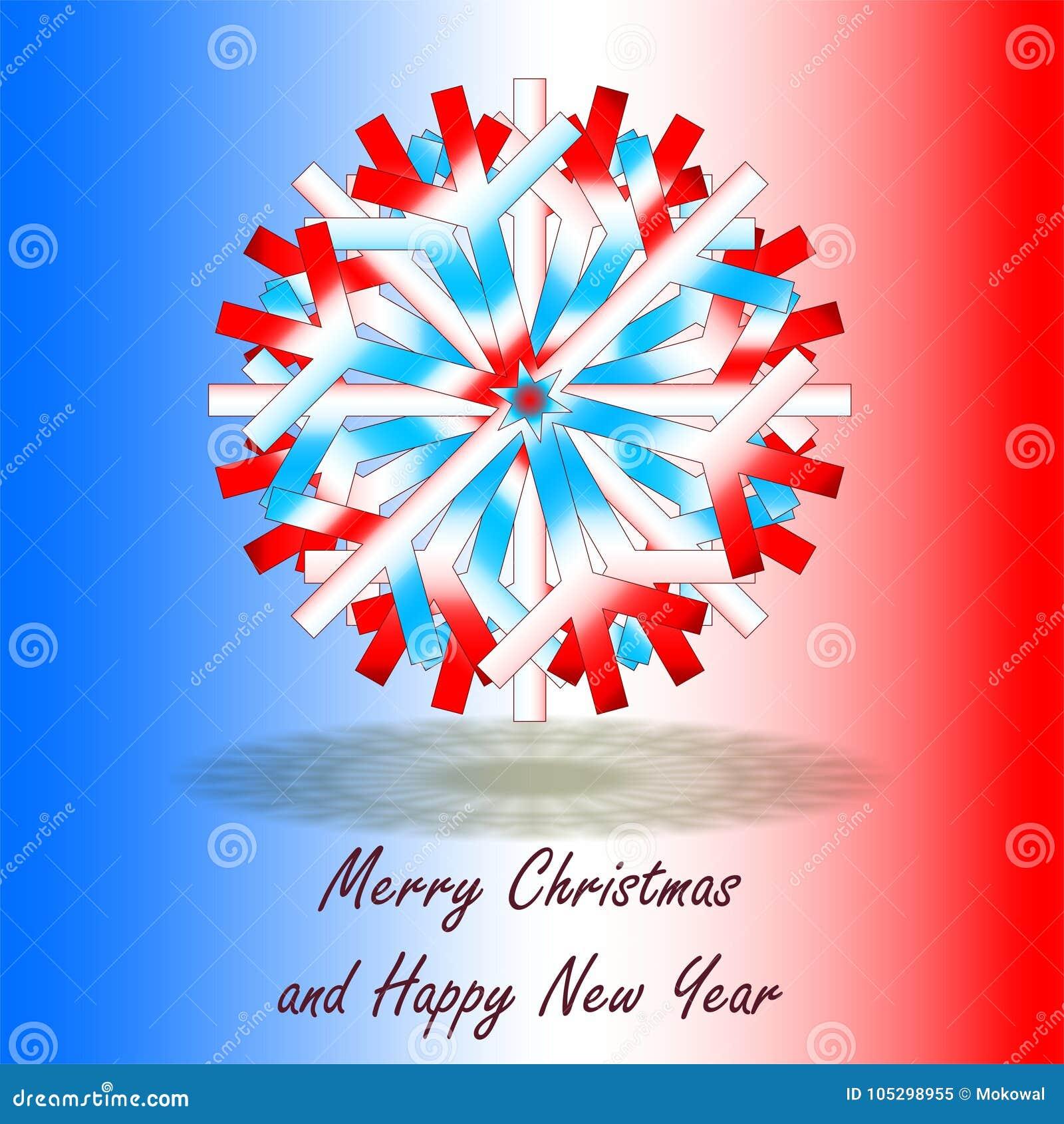 Ein Einzelner Blauer Weißer Roter Weihnachtsstern, Auf Hintergrund ...