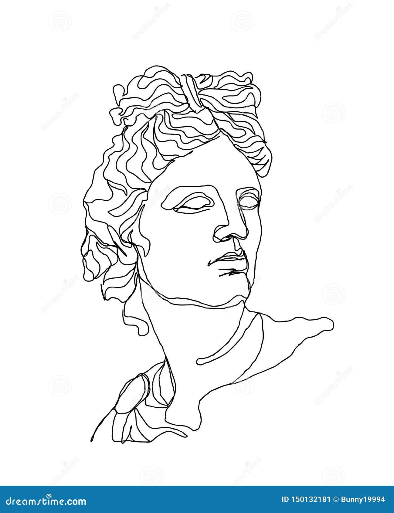 Ein Federzeichnung skech Apollo-Skulptur Moderne Kunst der einzelnen Zeile, ?sthetische Kontur Vervollkommnen Sie für Hauptdekor