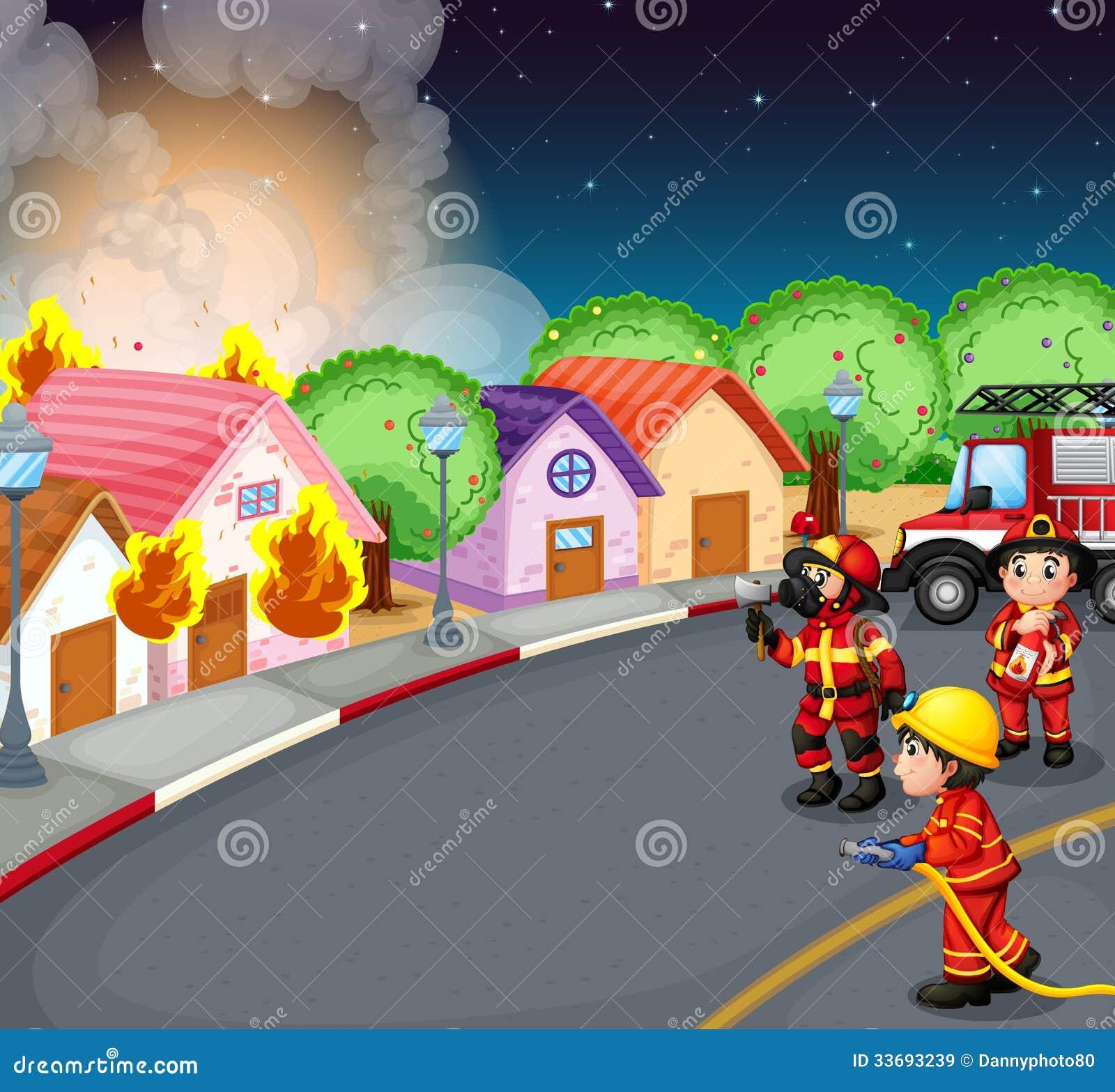 Ein Feuer am Dorf
