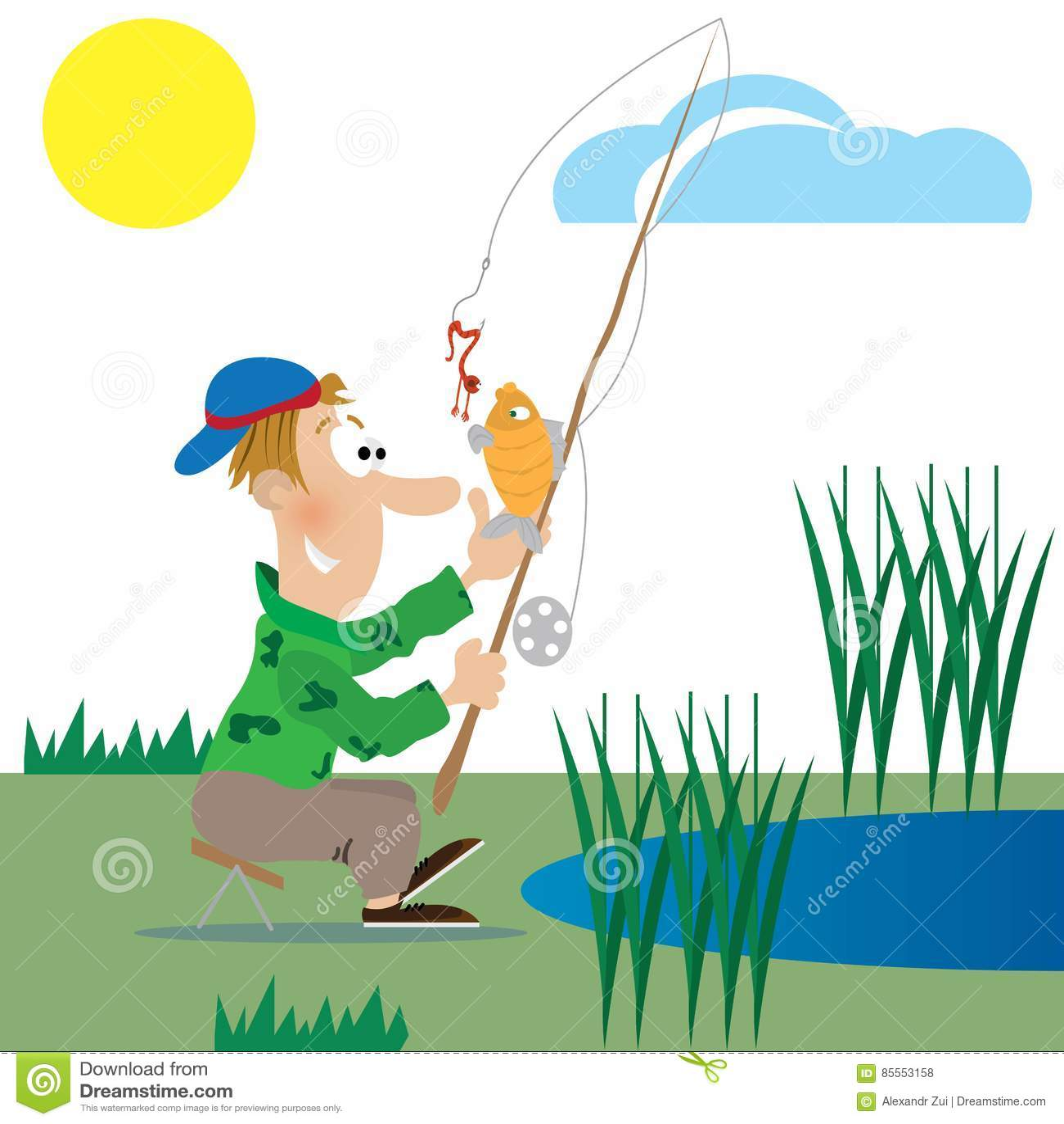 Ein Fischer fängt einen Fisch ab