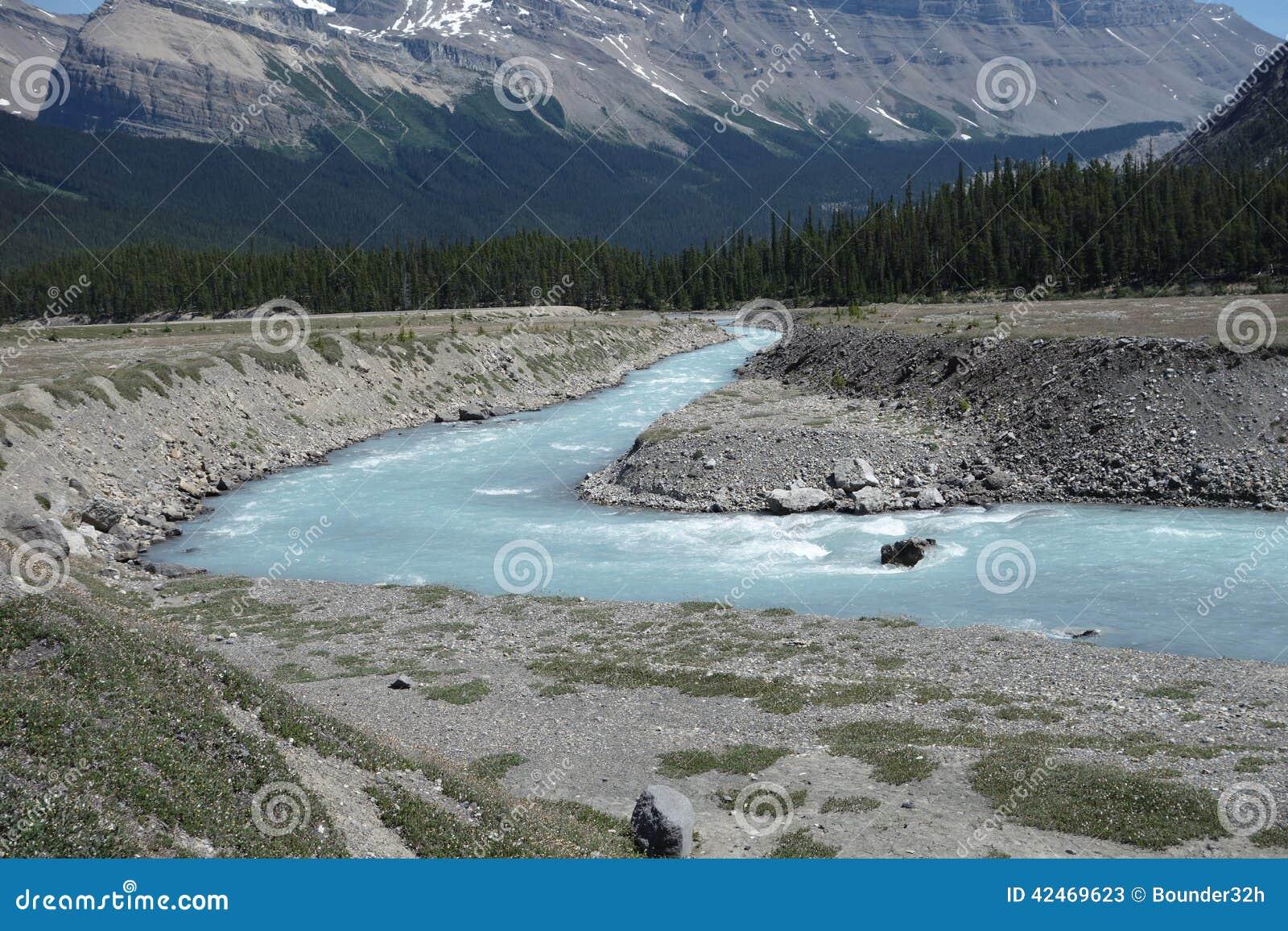 Ein Fluss, der durch eine alluviale Ebene läuft
