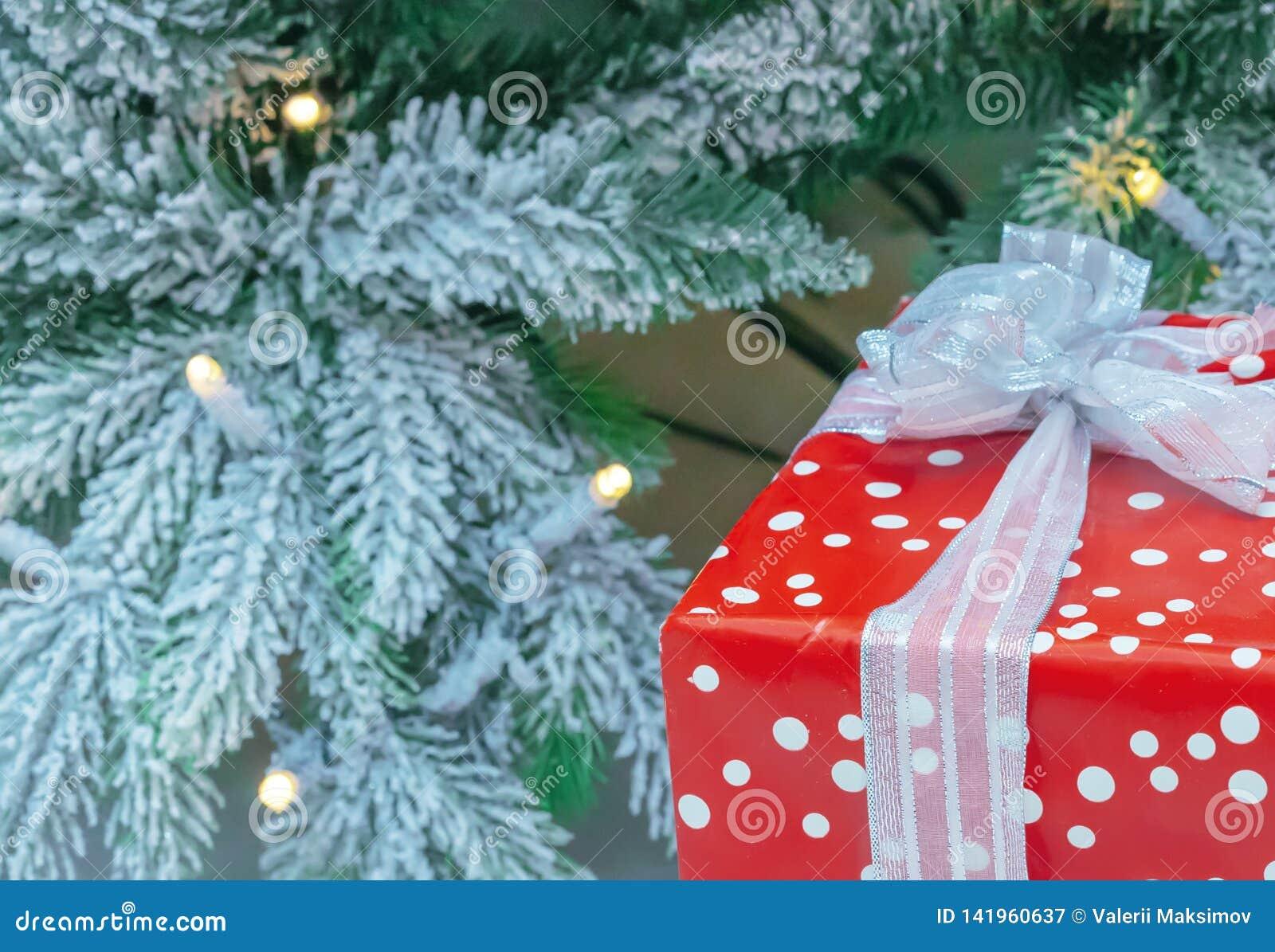 Ein Geschenk im roten Verpacken auf dem Hintergrund eines schneebedeckten Weihnachtsbaums