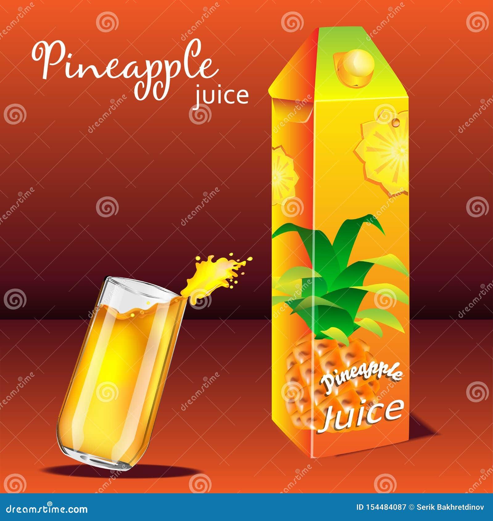 Ein Glas frischer Ananassaft und Verpacken von Ananas juic