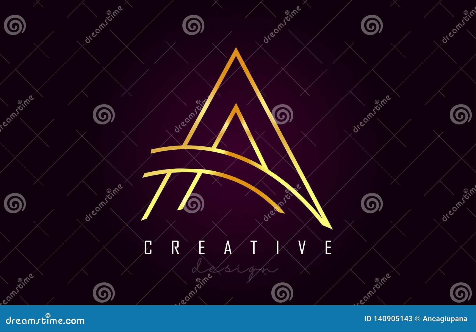 Ein goldener Buchstabe Logo Monogram Vector Design Kreativ eine Goldmetallbuchstabe-Ikone