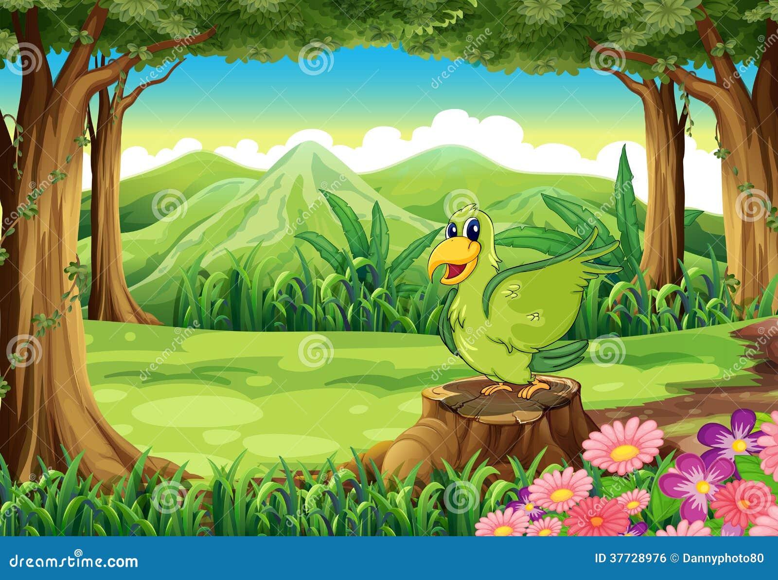 Ein grüner Vogel über dem Stumpf am Wald