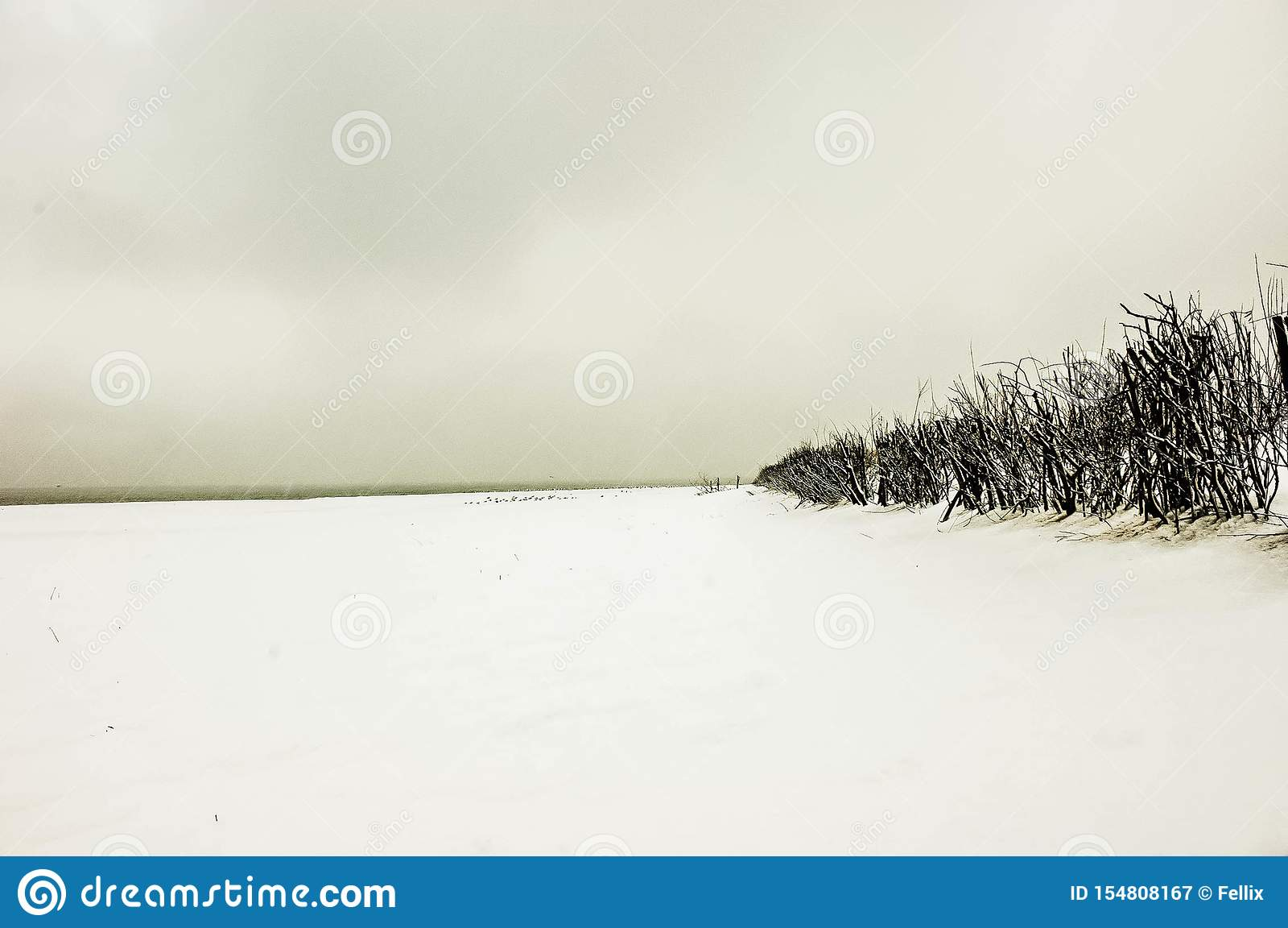 Ein großartiger Schneesturm auf dem sandigen Strand