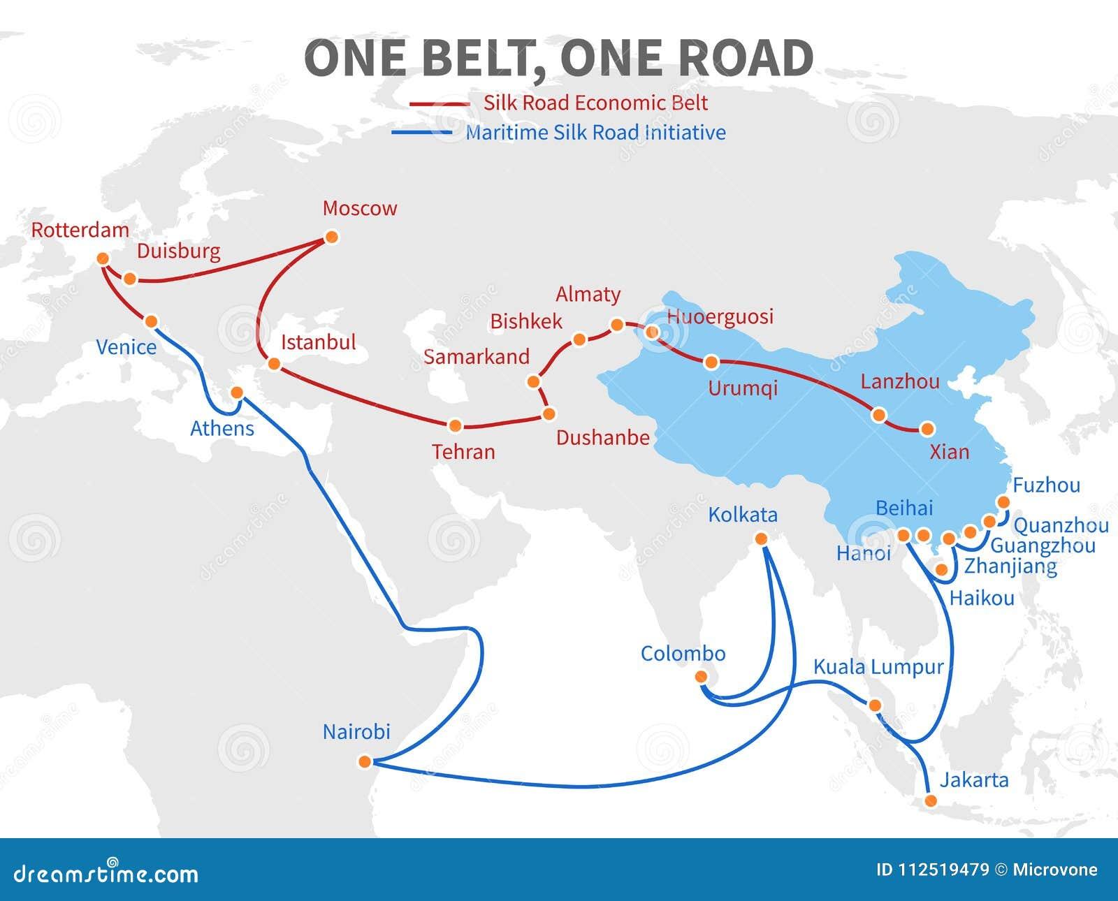 Ein Gurt - eine chinesische moderne Seidenstraße der Straße Wirtschaftliche Transportweise auf Weltkartevektorillustration