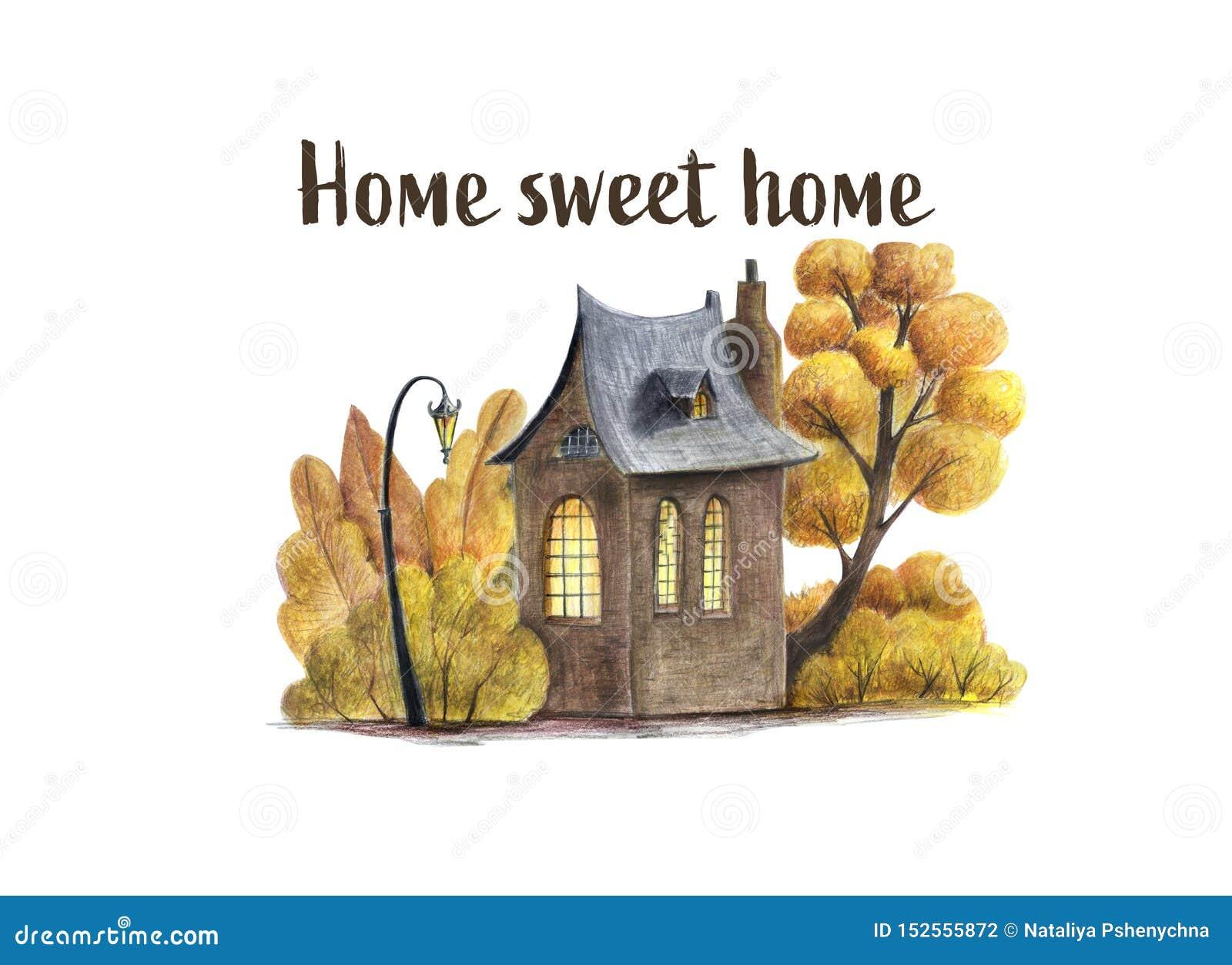 Ein Herbst Haus- und ltreesillustration