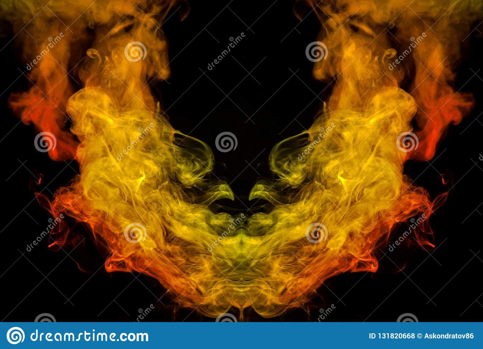 Ein Hintergrund des Orangen-, Gelbem und Rotemgewellten Rauches in der Form O