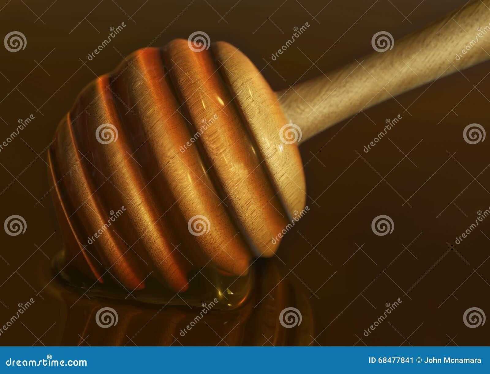 Ein Honigschopfloffel Oder Stab Tauchten Herein Dick Glatter Goldener Honig