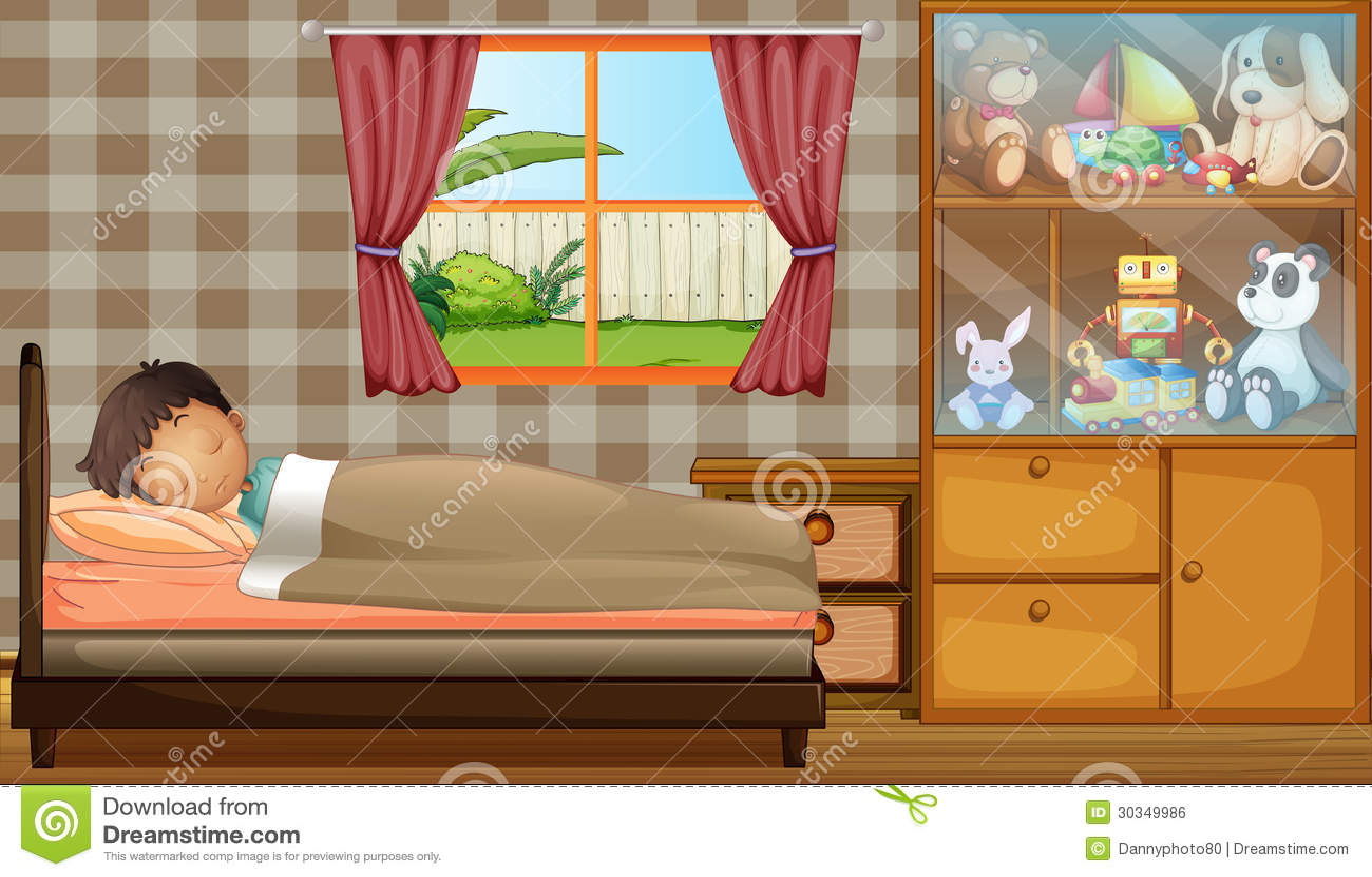 Ein junge der in seinem schlafzimmer schl ft lizenzfreies for Schlafzimmer junge