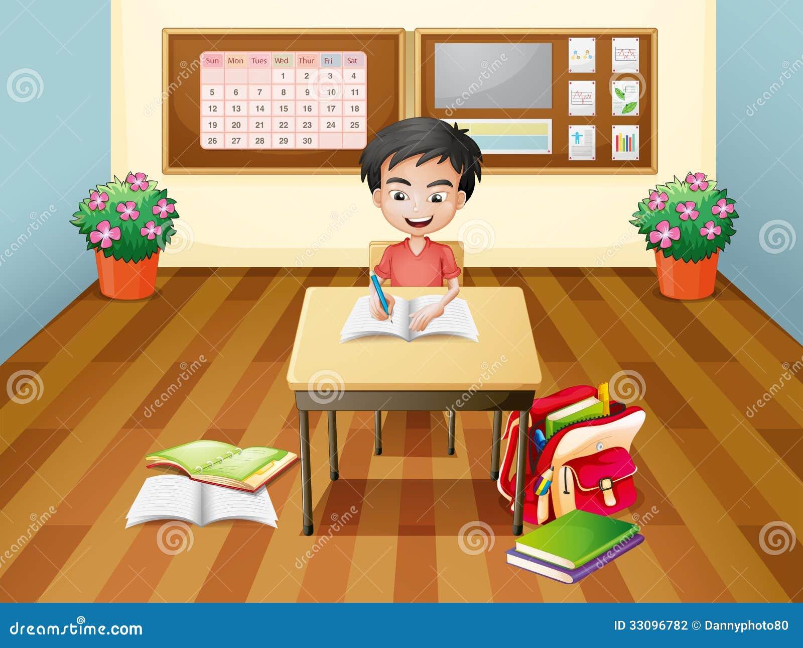 ein jungenschreiben am tisch vektor abbildung illustration von feld mann 33096782. Black Bedroom Furniture Sets. Home Design Ideas