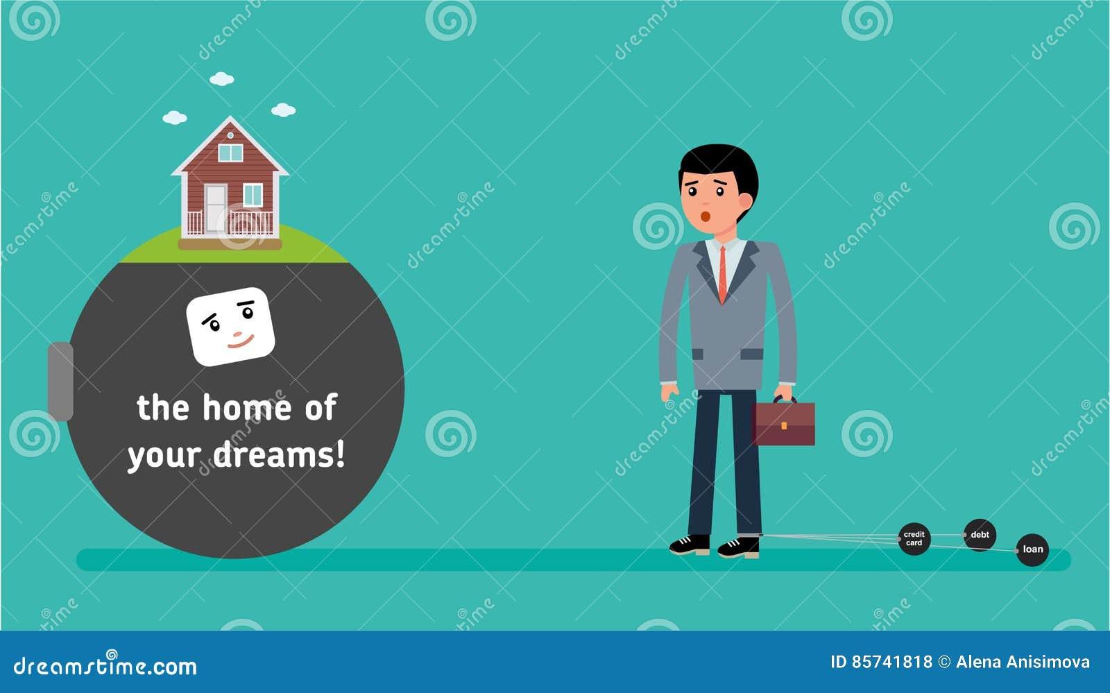 ein junger angestellter mit dem kleinsten schuldangebot die hypothek auf dem haus vektor. Black Bedroom Furniture Sets. Home Design Ideas