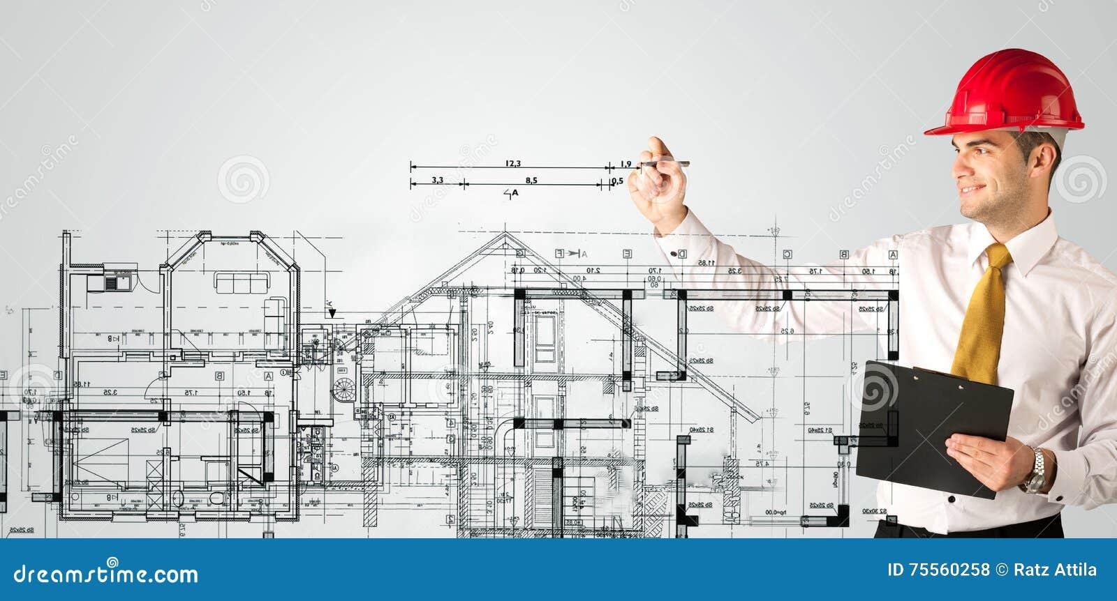 Ein Junger Architekt, Der Einen Hausplan Zeichnet