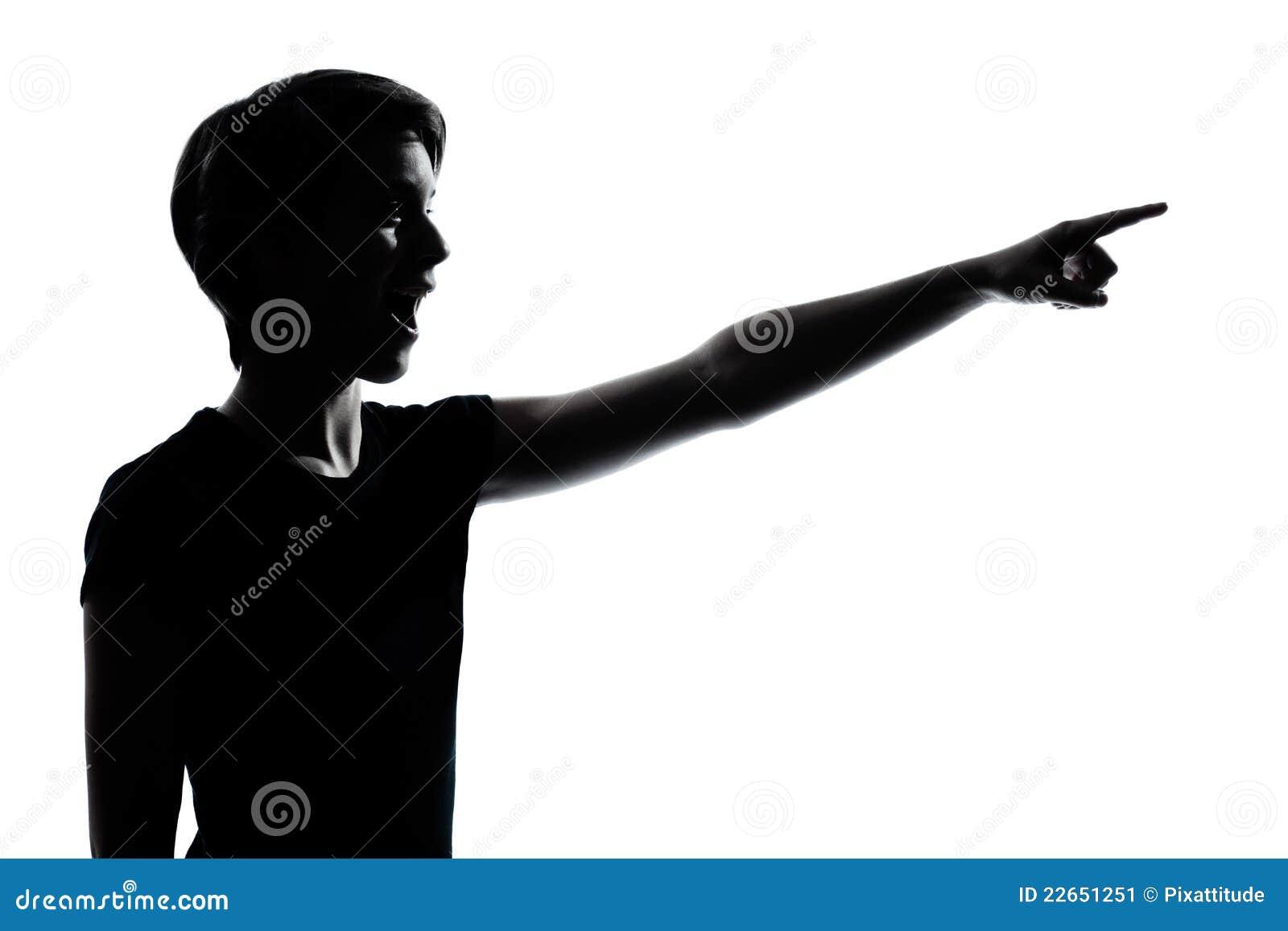 Ein junger Jugendlicher, der überraschtes Schattenbild zeigt