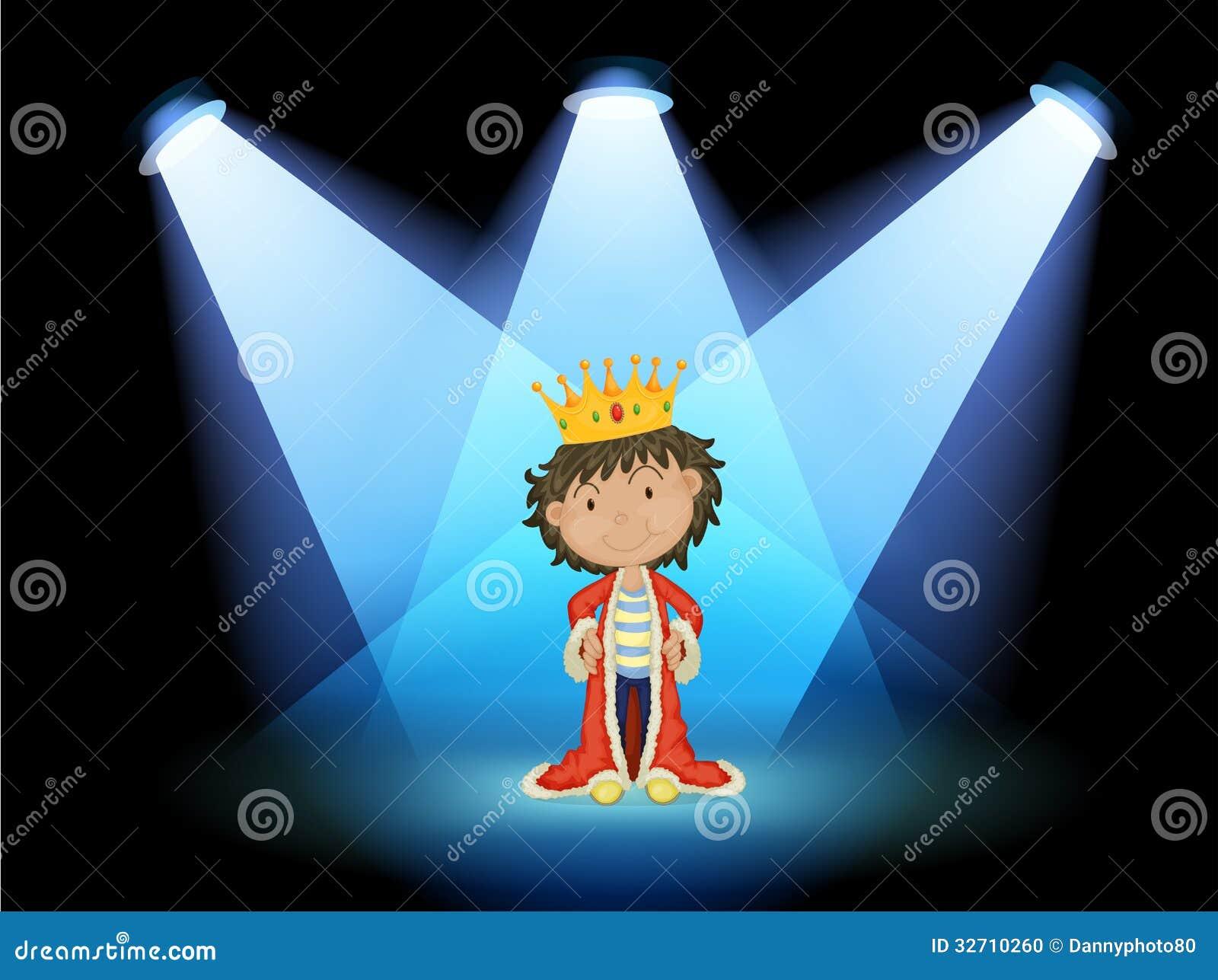 Ein König in der Mitte des Stadiums
