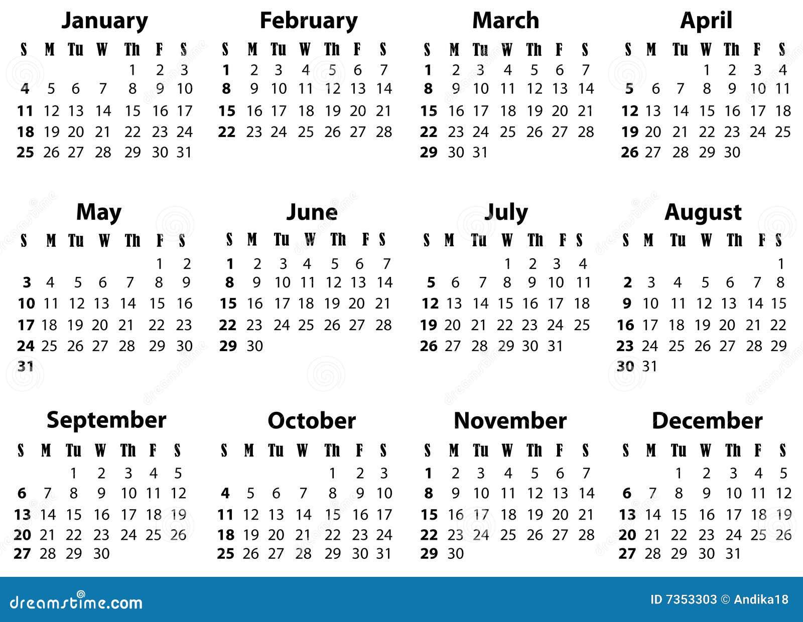 ein kalender f252r 2009 und 2020 stockfotos bild 7353303