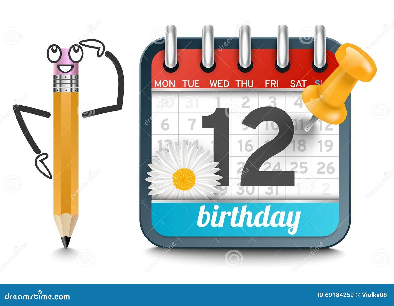 Ein Kalender Mit Einem Bleistift Und Ganseblumchen Bluhen Geburtstag