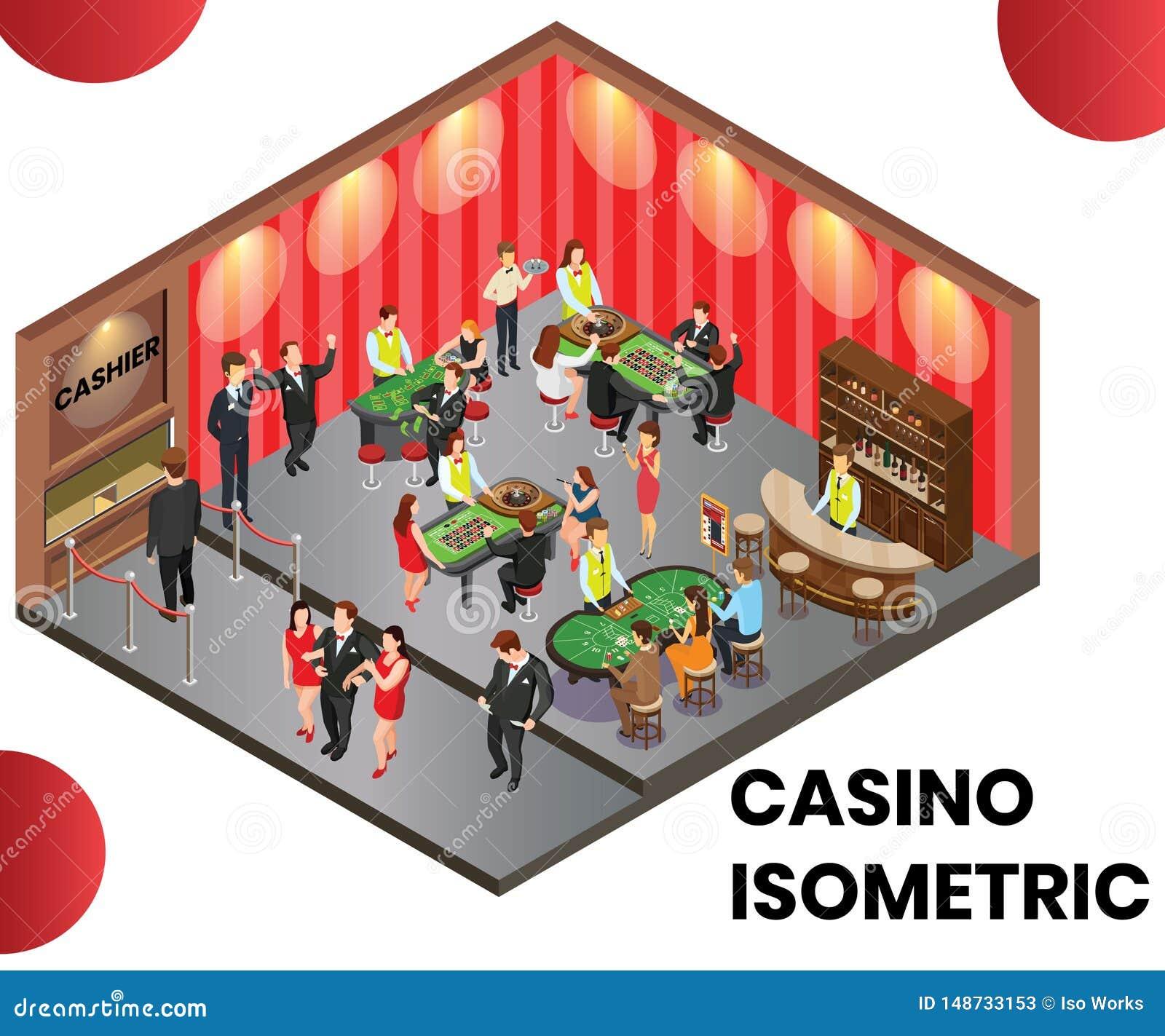 Ein Kasino-Club, wo Leute isometrisches Grafik-Konzept spielen