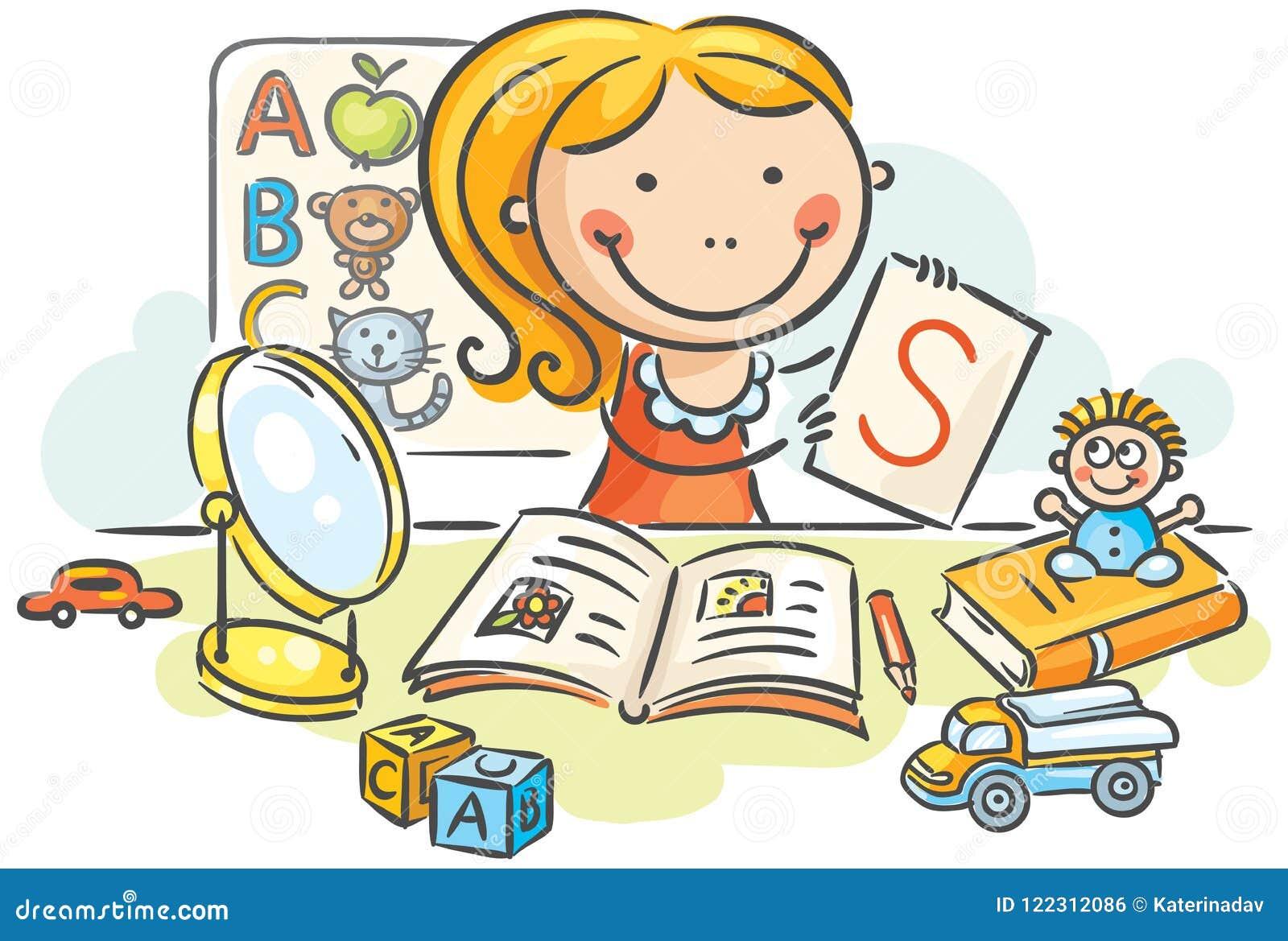 Ein Kinderlogopäde mit Spielwaren, Bücher, Buchstaben, Spiegel