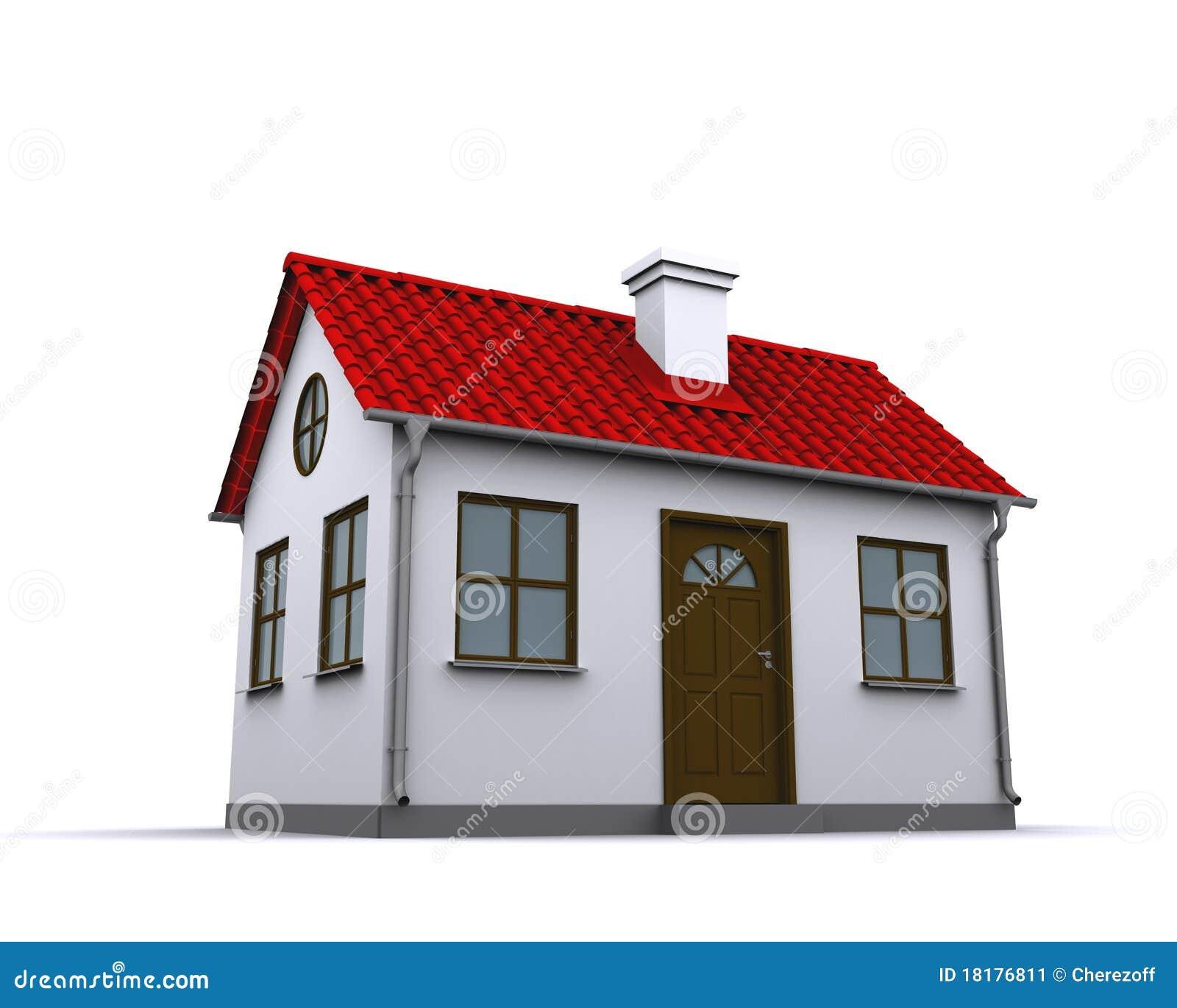 Ein kleines haus mit rotem dach stockbild bild von for Modernes haus mit rotem dach