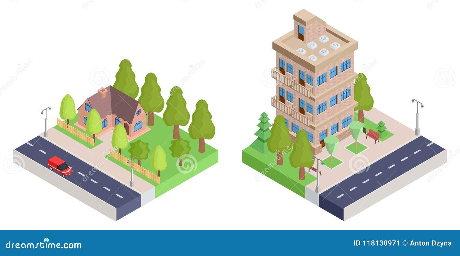 Ein Landhaus mit einem Zaun und einem isometrischen Haus der Wohnung