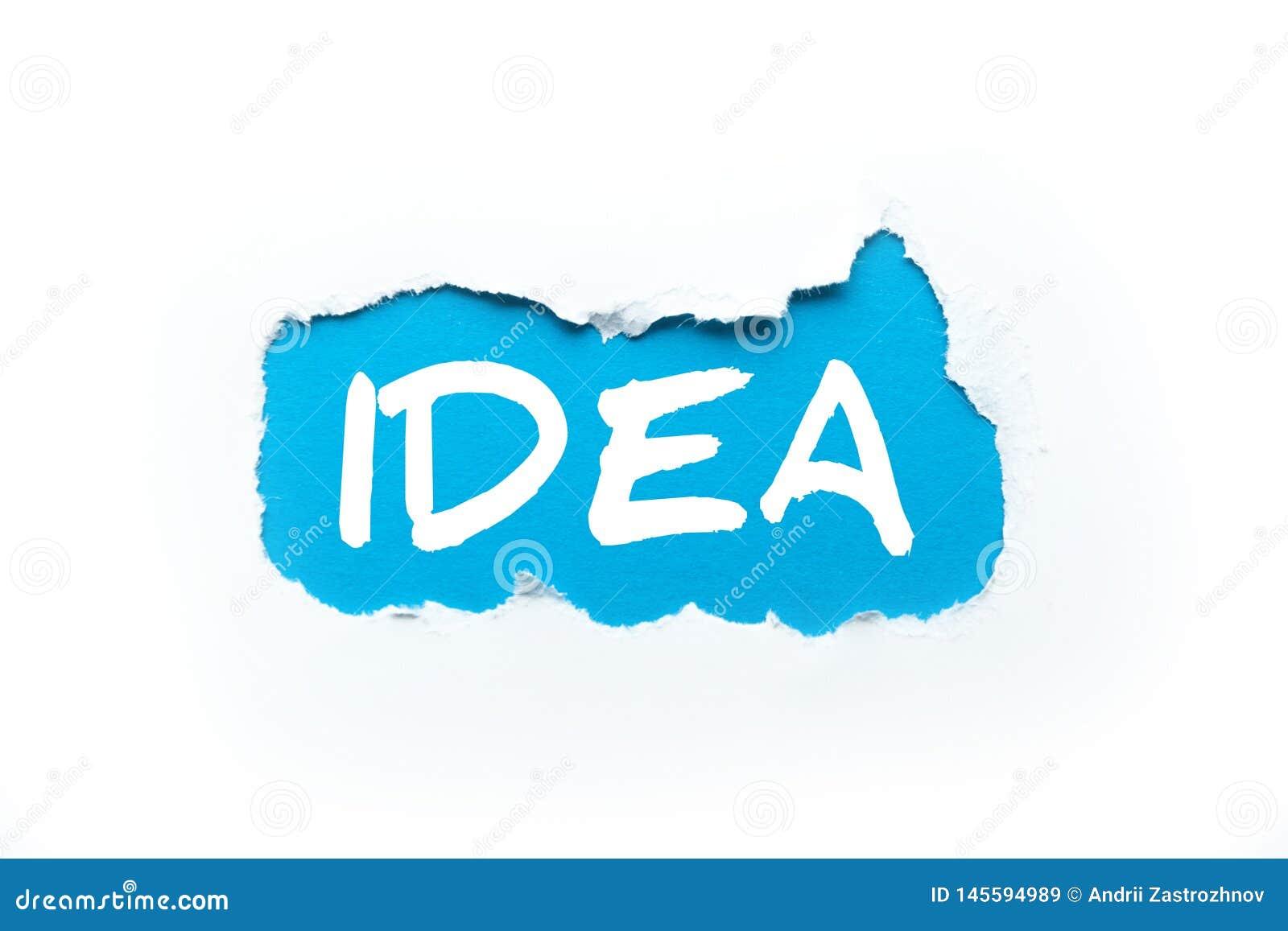 Ein Loch in einem weißen Hintergrund, die Aufschrift 'Idee 'auf Blau