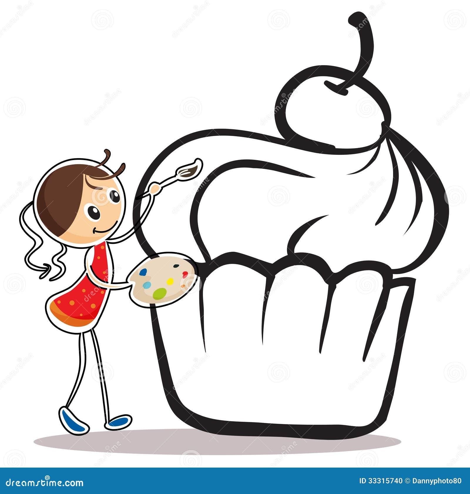 Ein Mädchen Das Den Kleinen Kuchen Malt Vektor Abbildung