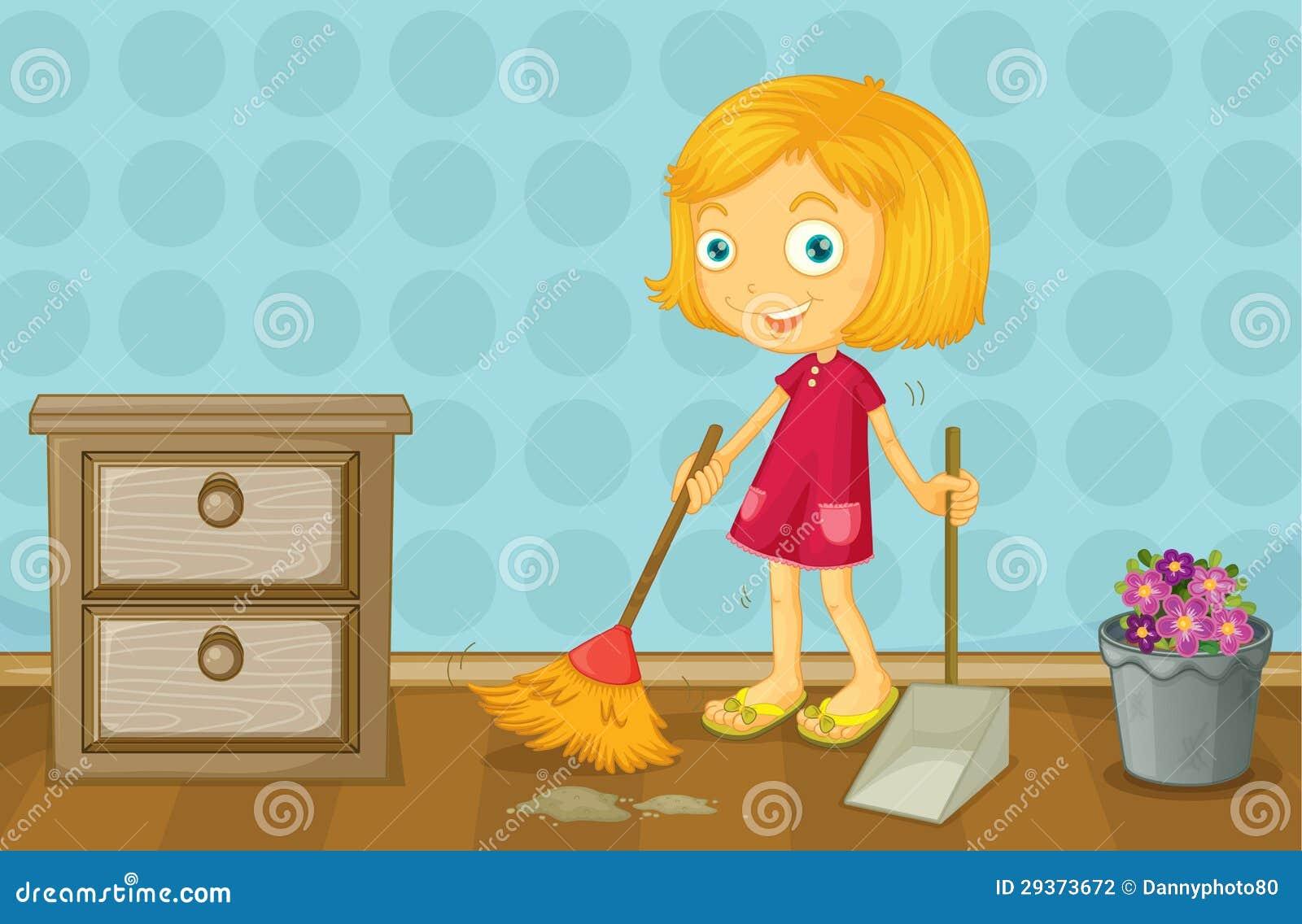 Ein Mädchen, das einen Raum säubert
