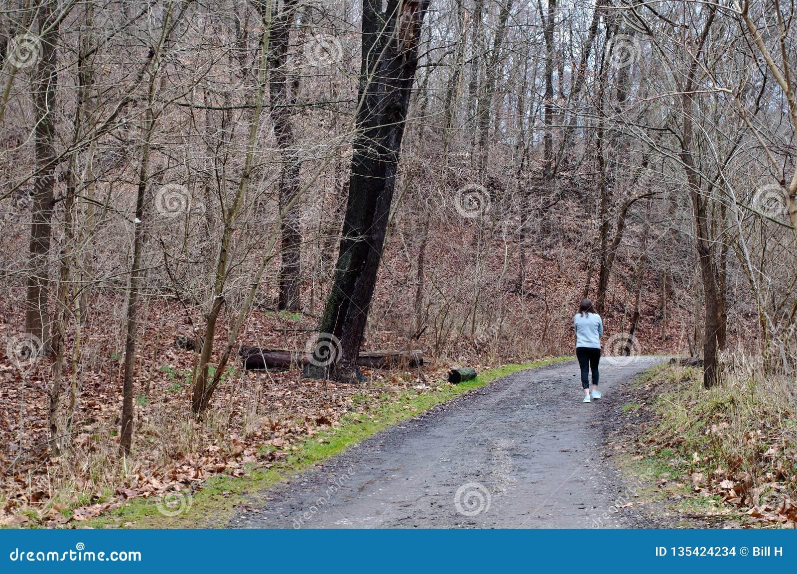 Ein Mädchen, Das Im Wald Auf Einen Erdweg In Fick-Park