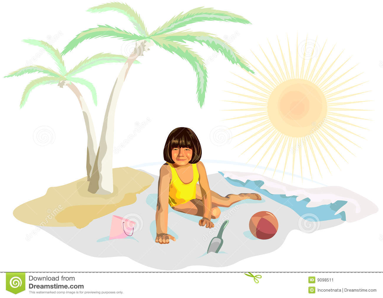 Ein Mädchen in den gelben Spielen auf dem Strand