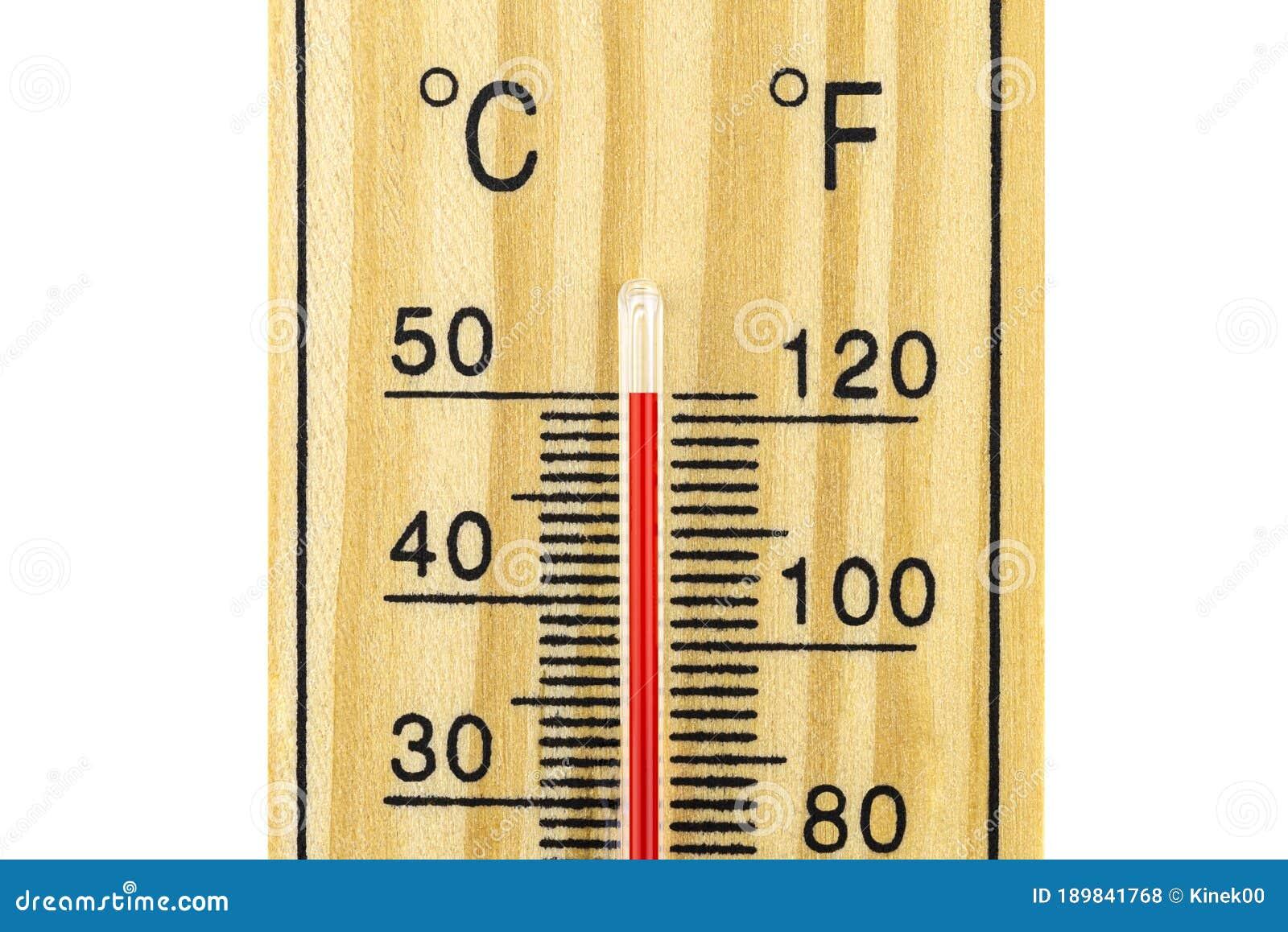 Ein Makroschuß Eines Klassischen Holz Thermometers, Der Eine ...