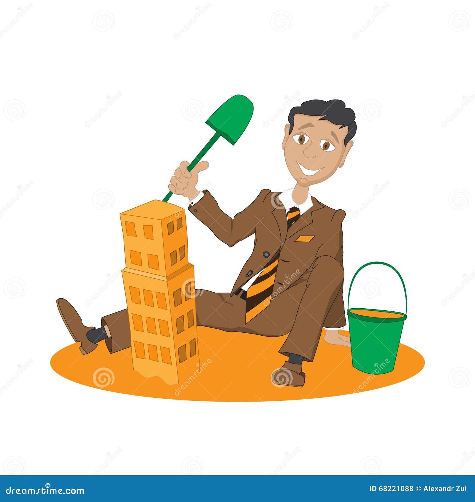 ein mann baut ein haus aus sand heraus vektor abbildung bild 68221088. Black Bedroom Furniture Sets. Home Design Ideas