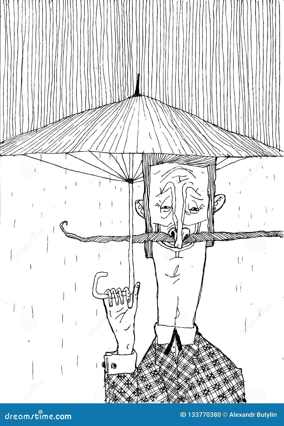 Ein Mann mit einem Schnurrbart und einem Regenschirm im Regen Stilvolle Schwarzweiss-Grafiken für Plakate und Druckproduktion