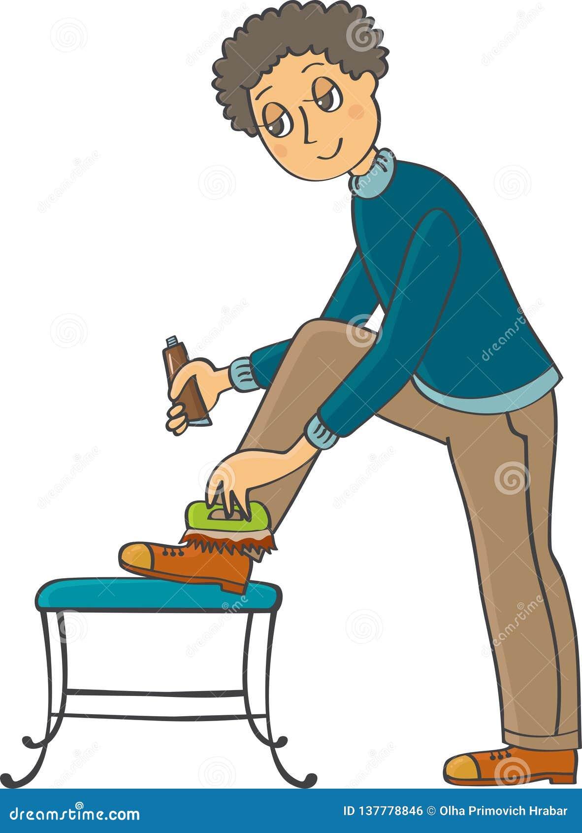 Ein Mann poliert seine Schuhe