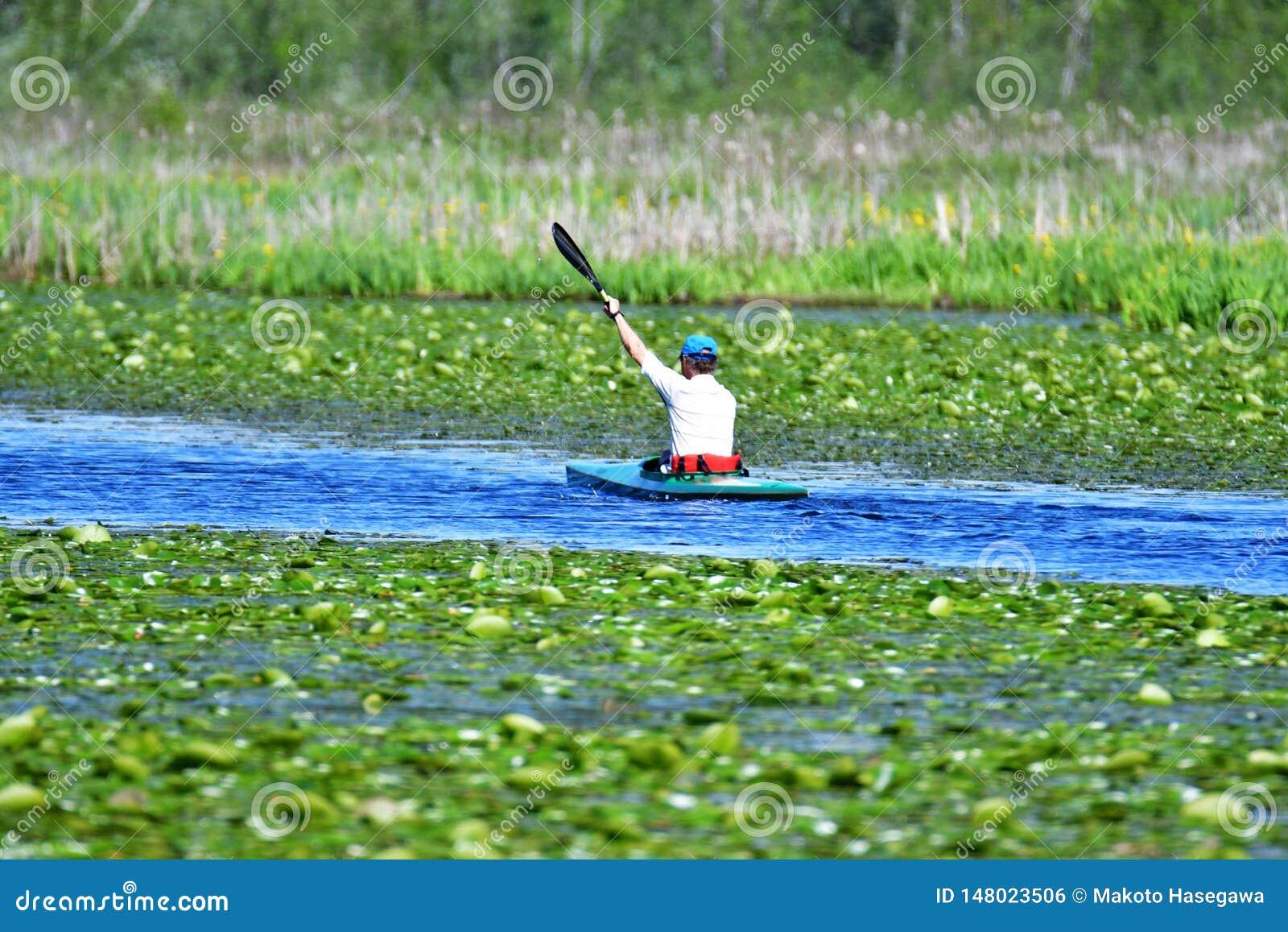 Ein Mann rudert entlang dem See auf einem Kajak