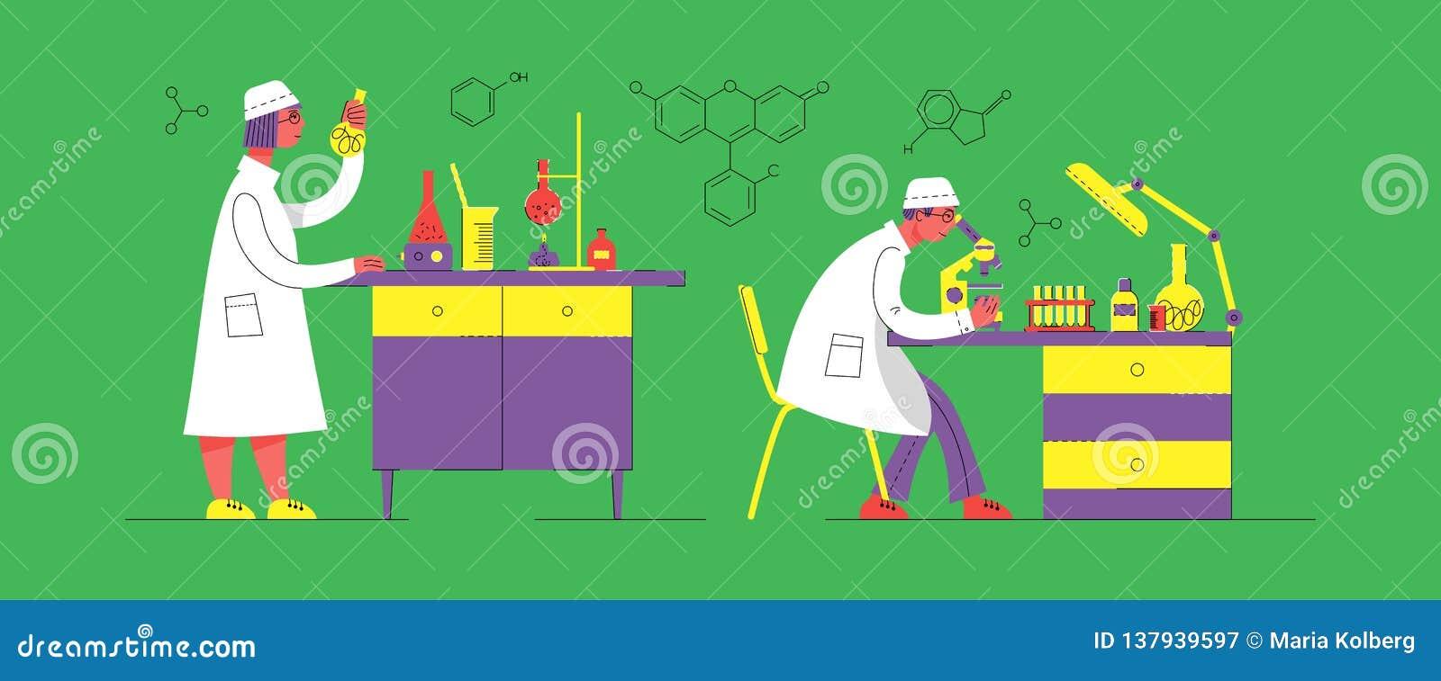 Ein Mann und eine Frau in der Uniform arbeiten in einem Labor Chemisches und biologisches Labor