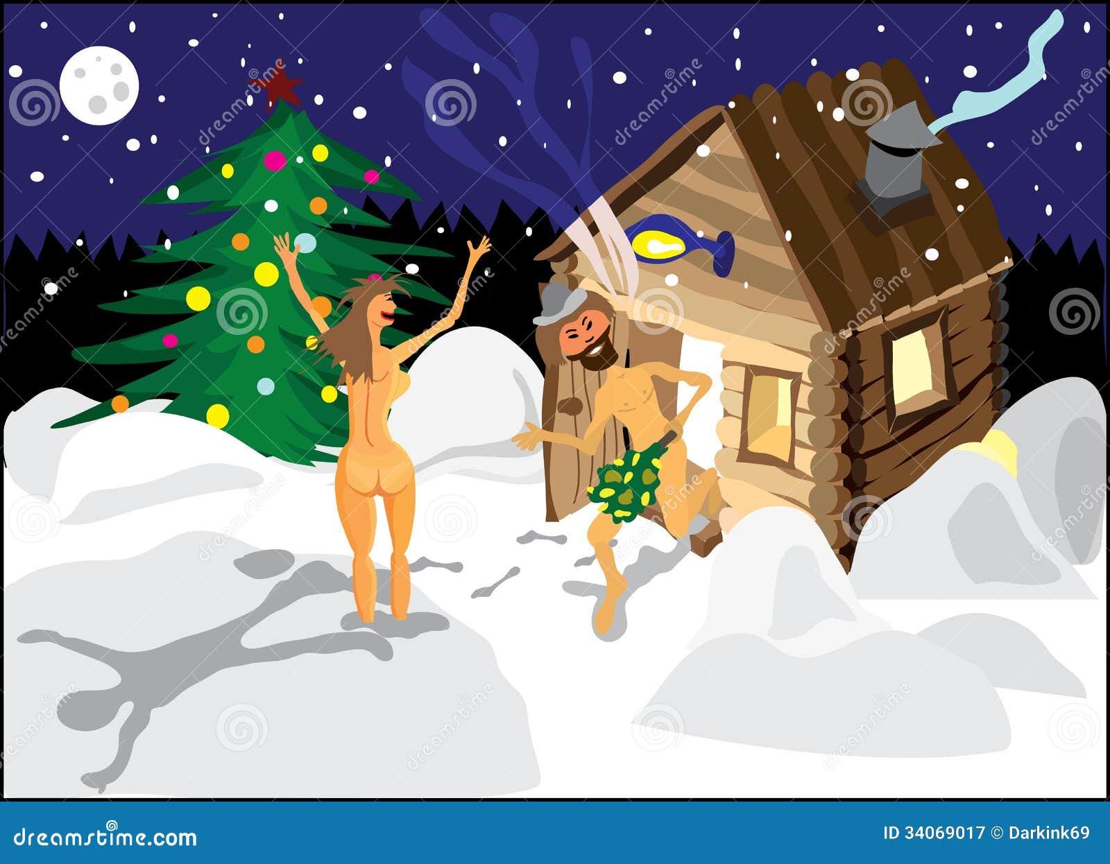 ein mann und eine frau die in den schnee von der sauna. Black Bedroom Furniture Sets. Home Design Ideas