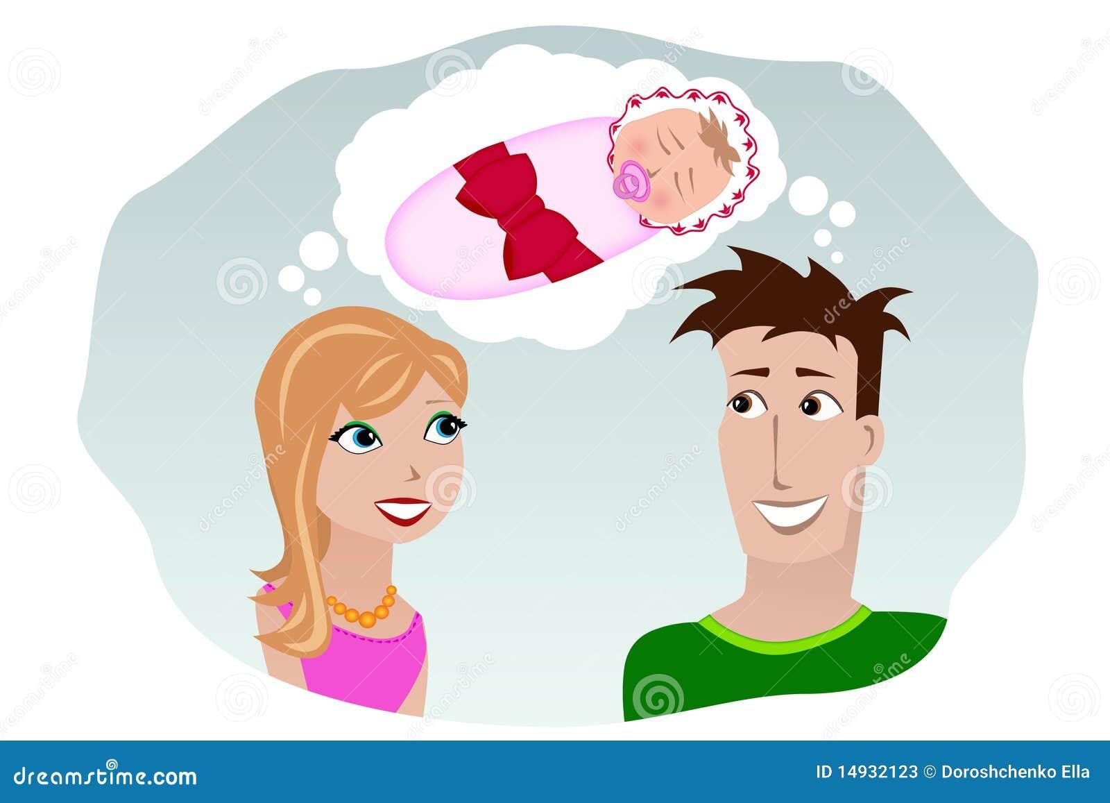 Ein Mann und eine Frau, die von einem Kind träumen