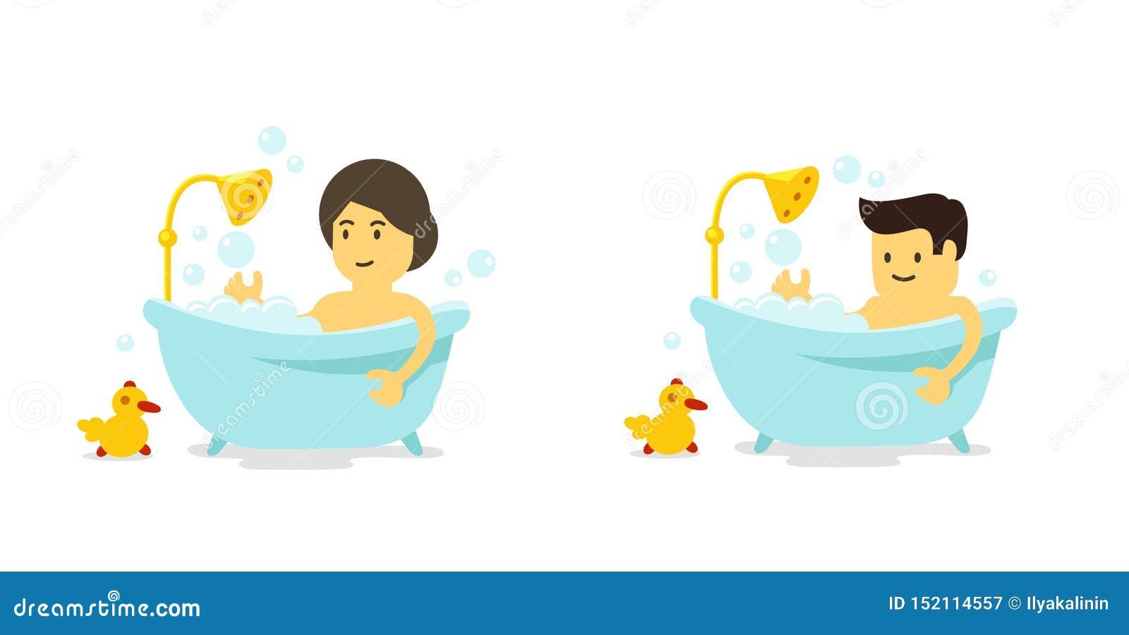 Ein Mann und eine Frau nimmt ein Bad Dusche im Badezimmer Baden von Zeit Vektorkarikaturart