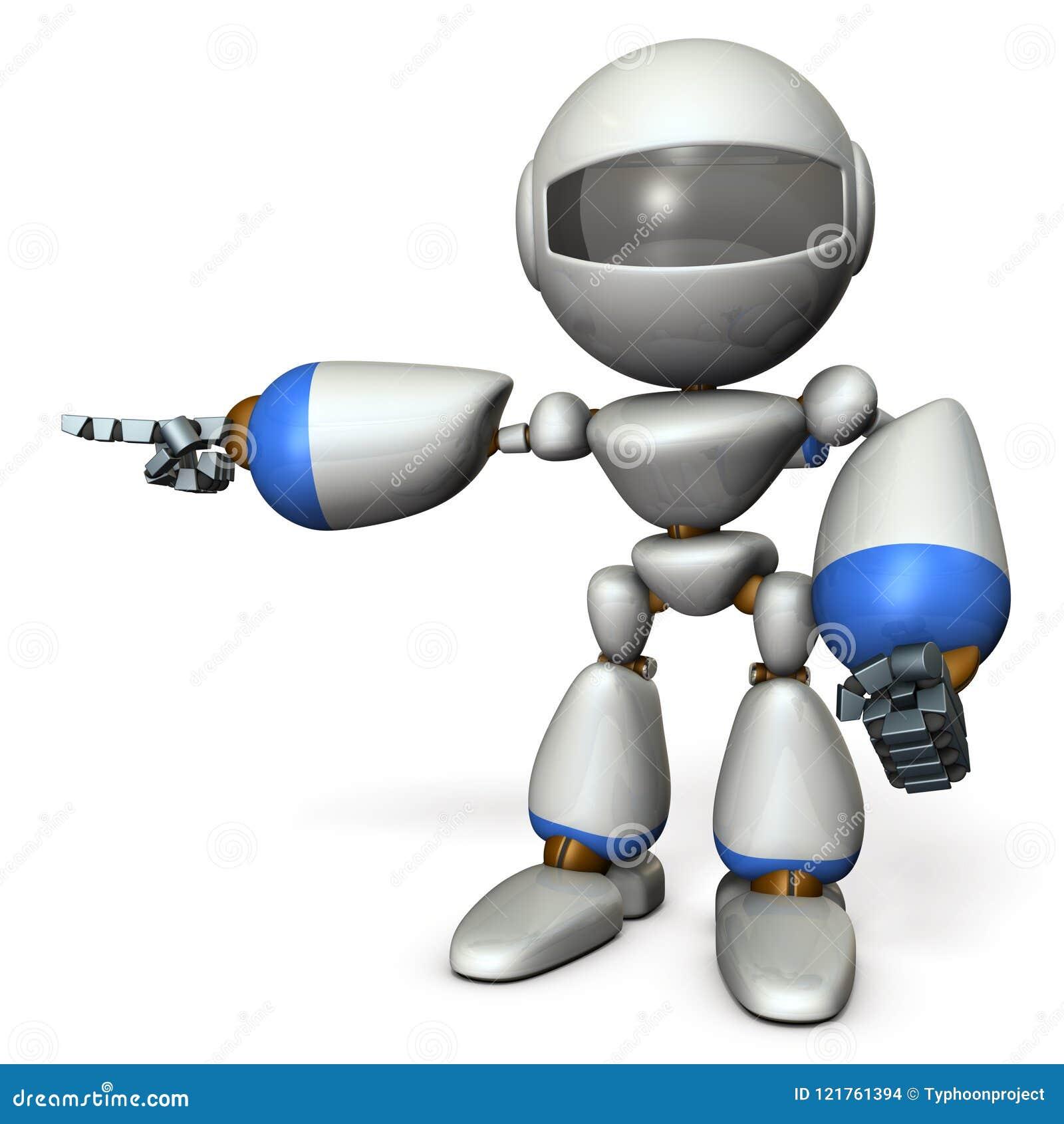 Ein netter dieser Roboter zeigt nach links Es zeigt die Richtung, um zu gehen
