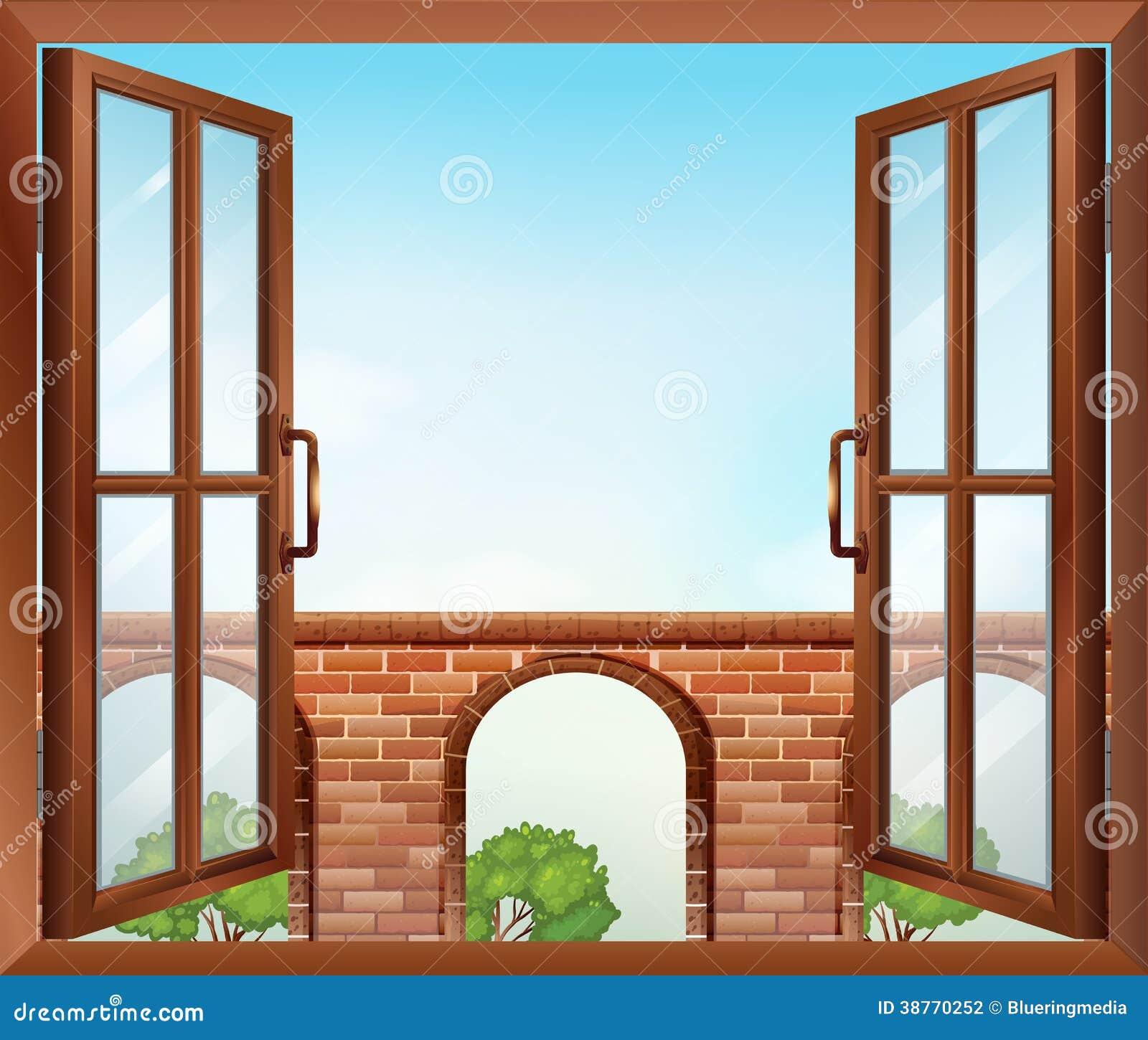 Offenes fenster gezeichnet  Ein Offenes Fenster Mit Blick Auf Das Tor Stockfotografie - Bild ...